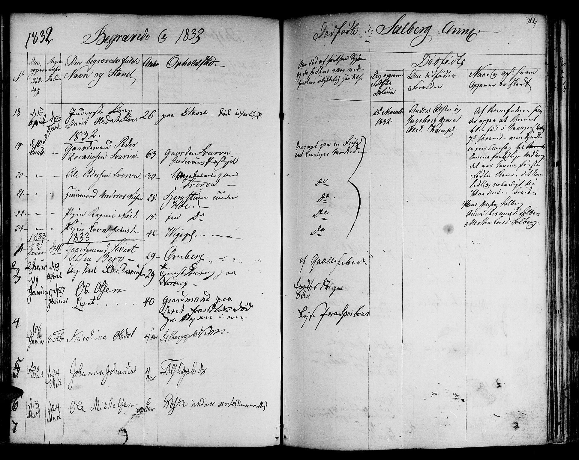 SAT, Ministerialprotokoller, klokkerbøker og fødselsregistre - Nord-Trøndelag, 730/L0277: Ministerialbok nr. 730A06 /2, 1831-1839, s. 317
