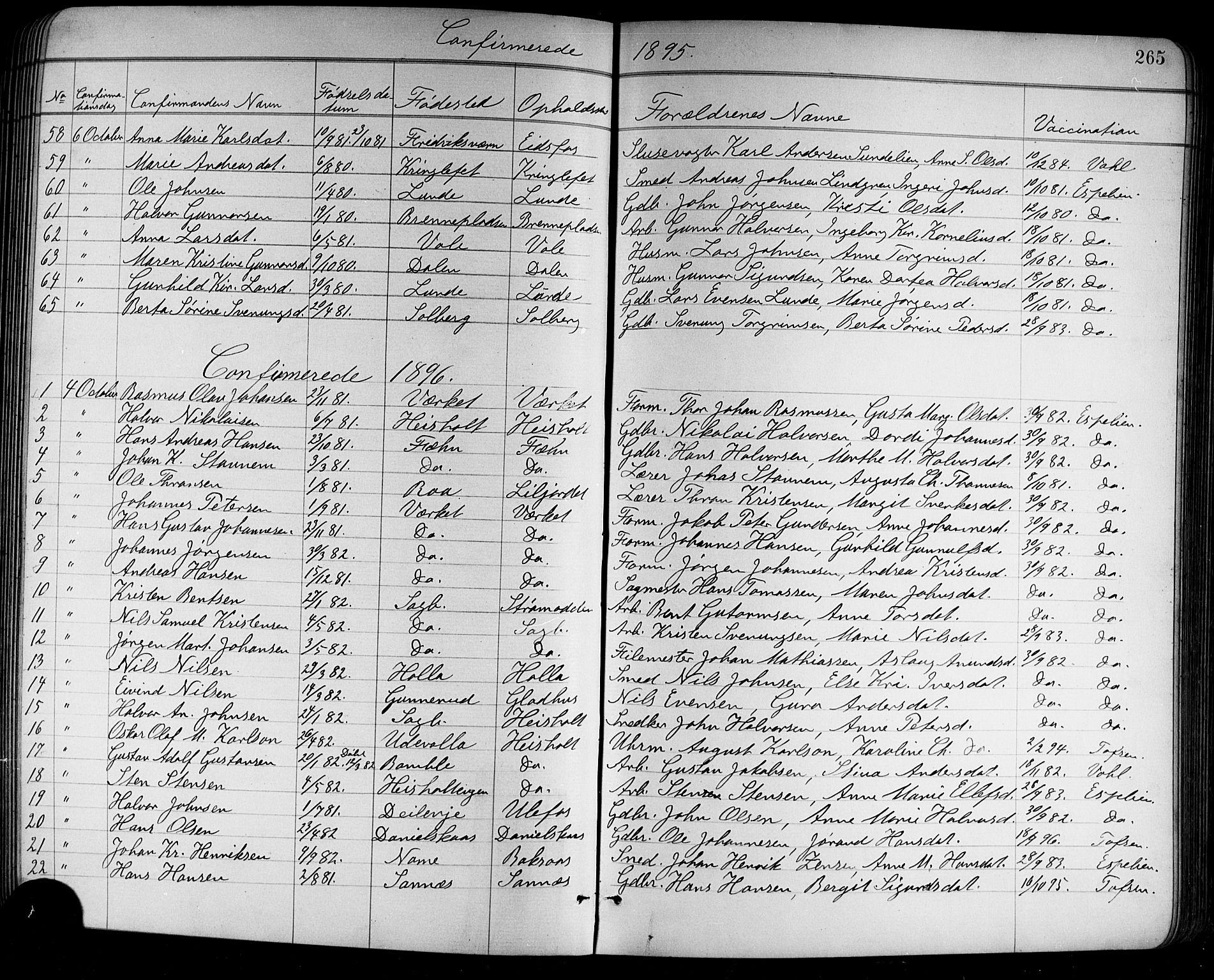 SAKO, Holla kirkebøker, G/Ga/L0005: Klokkerbok nr. I 5, 1891-1917, s. 265