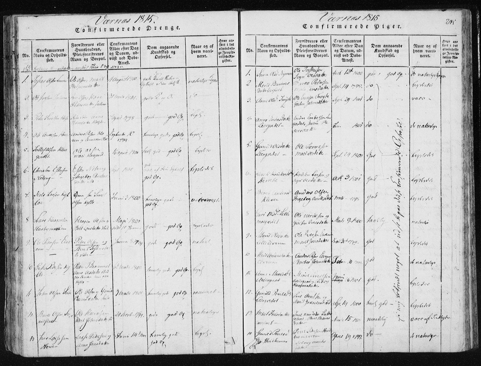 SAT, Ministerialprotokoller, klokkerbøker og fødselsregistre - Nord-Trøndelag, 709/L0061: Ministerialbok nr. 709A08 /1, 1815-1819, s. 235