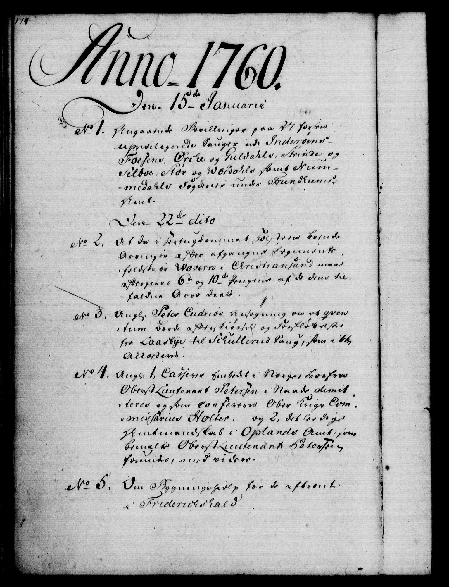 RA, Rentekammeret, Kammerkanselliet, G/Gf/Gfb/L0006: Register til norske relasjons- og resolusjonsprotokoller (merket RK 52.101), 1755-1765, s. 174