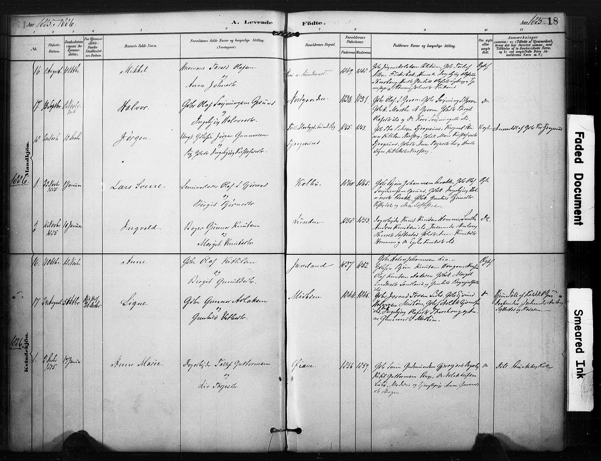 SAKO, Kviteseid kirkebøker, F/Fa/L0008: Ministerialbok nr. I 8, 1882-1903, s. 18