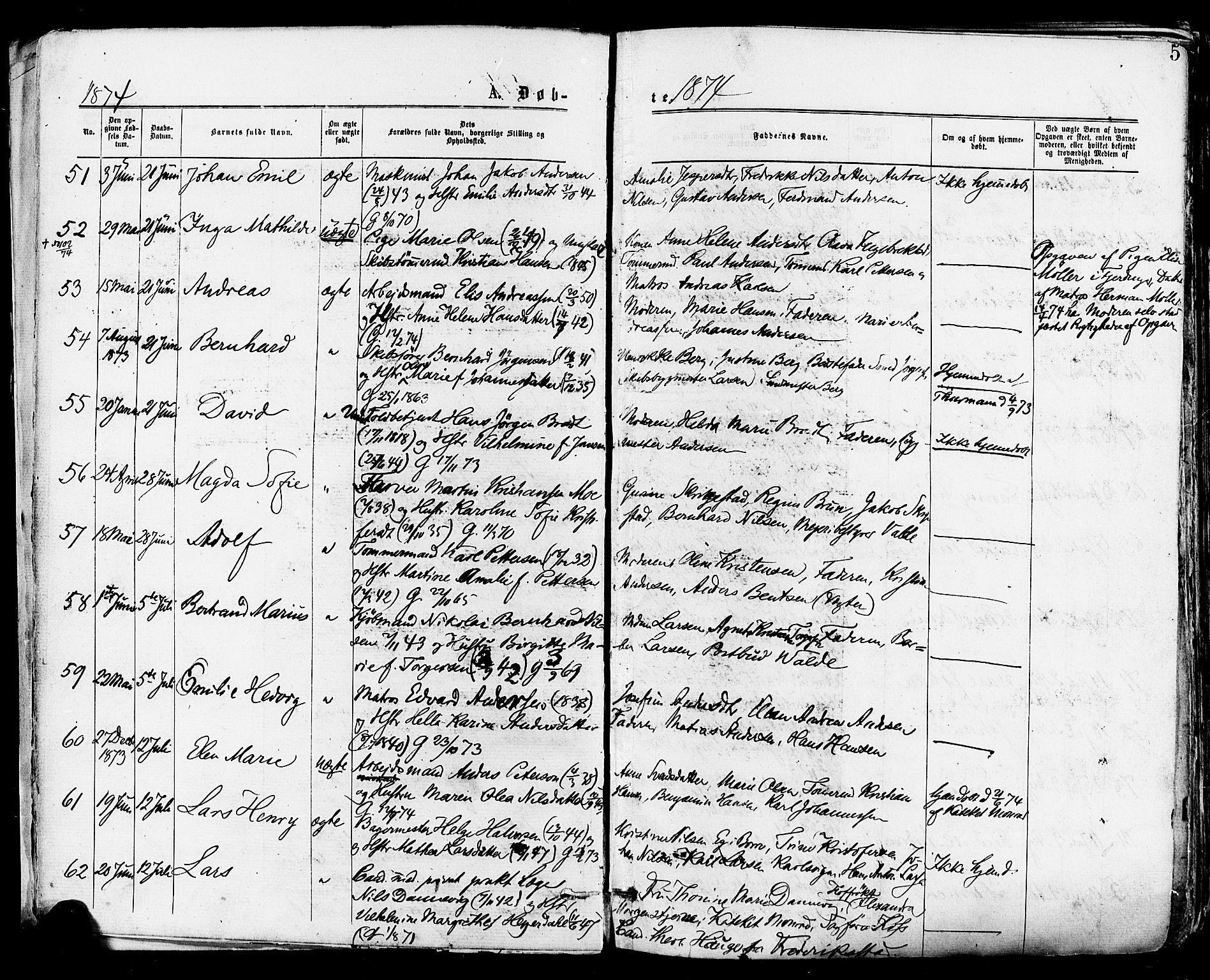 SAKO, Tønsberg kirkebøker, F/Fa/L0010: Ministerialbok nr. I 10, 1874-1880, s. 5