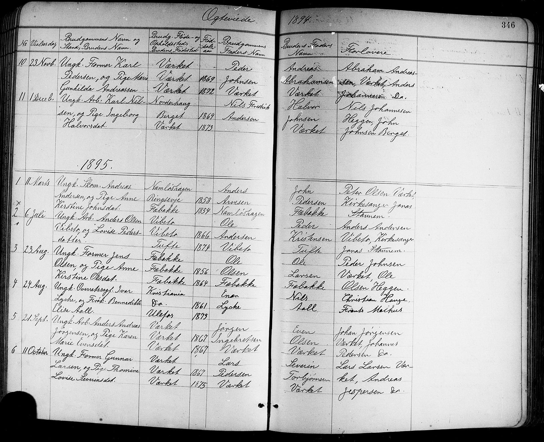 SAKO, Holla kirkebøker, G/Ga/L0005: Klokkerbok nr. I 5, 1891-1917, s. 346