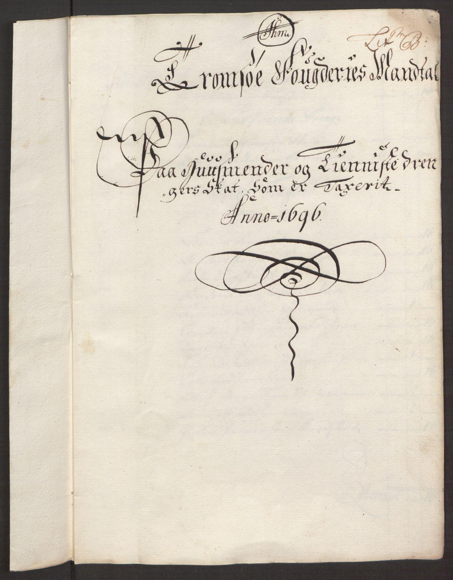 RA, Rentekammeret inntil 1814, Reviderte regnskaper, Fogderegnskap, R68/L4753: Fogderegnskap Senja og Troms, 1694-1696, s. 330