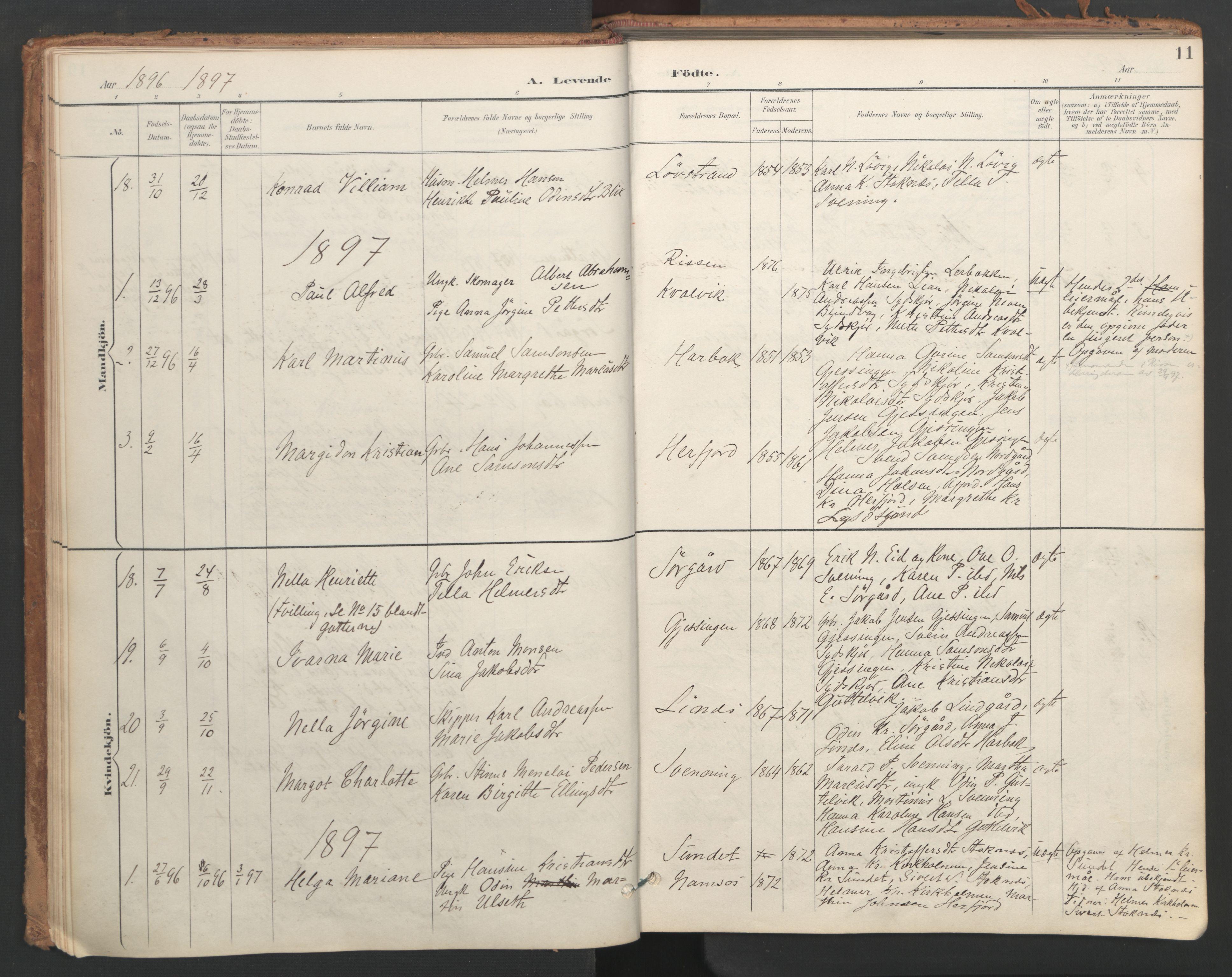 SAT, Ministerialprotokoller, klokkerbøker og fødselsregistre - Sør-Trøndelag, 656/L0693: Ministerialbok nr. 656A02, 1894-1913, s. 11
