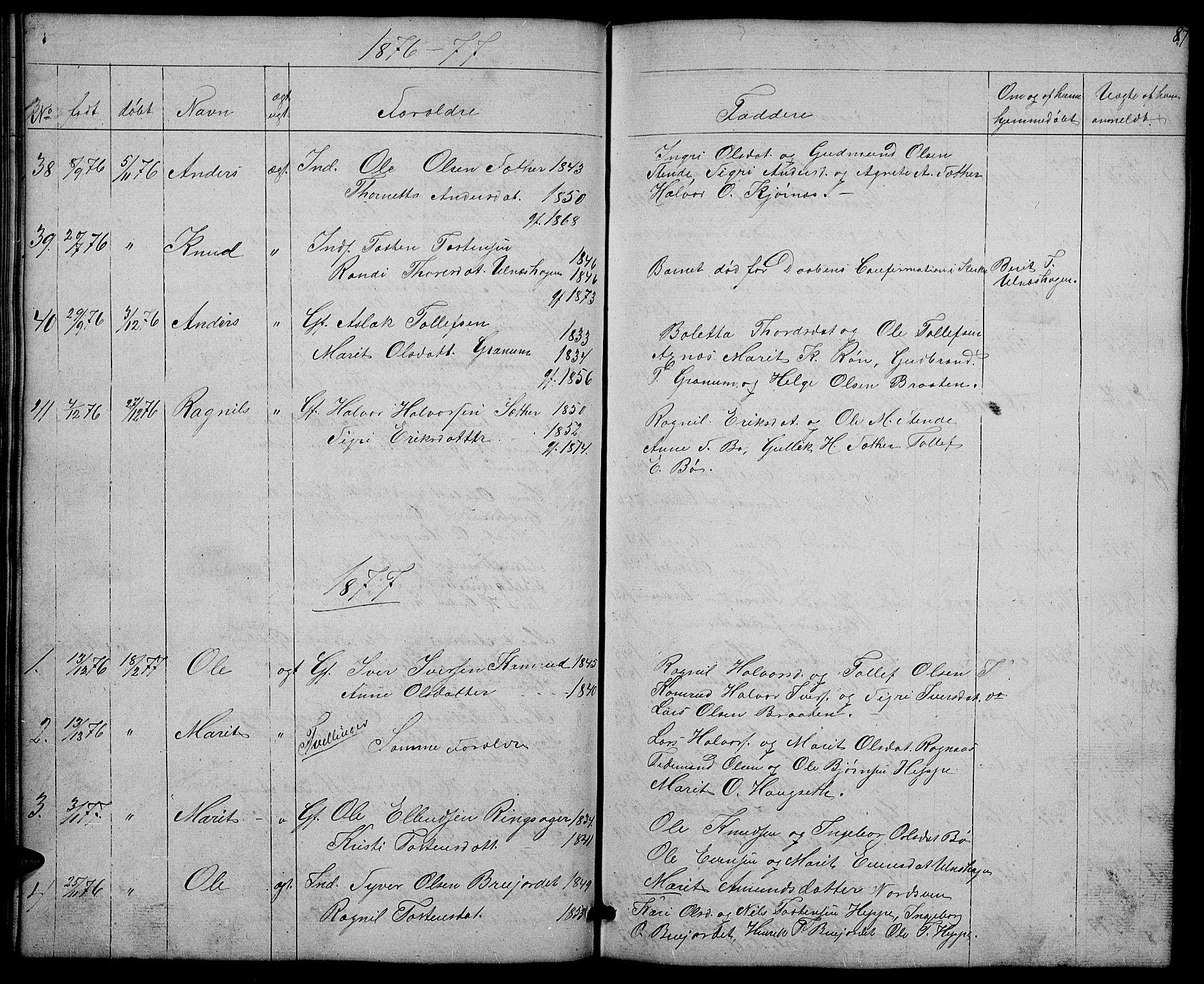 SAH, Nord-Aurdal prestekontor, Klokkerbok nr. 4, 1842-1882, s. 87