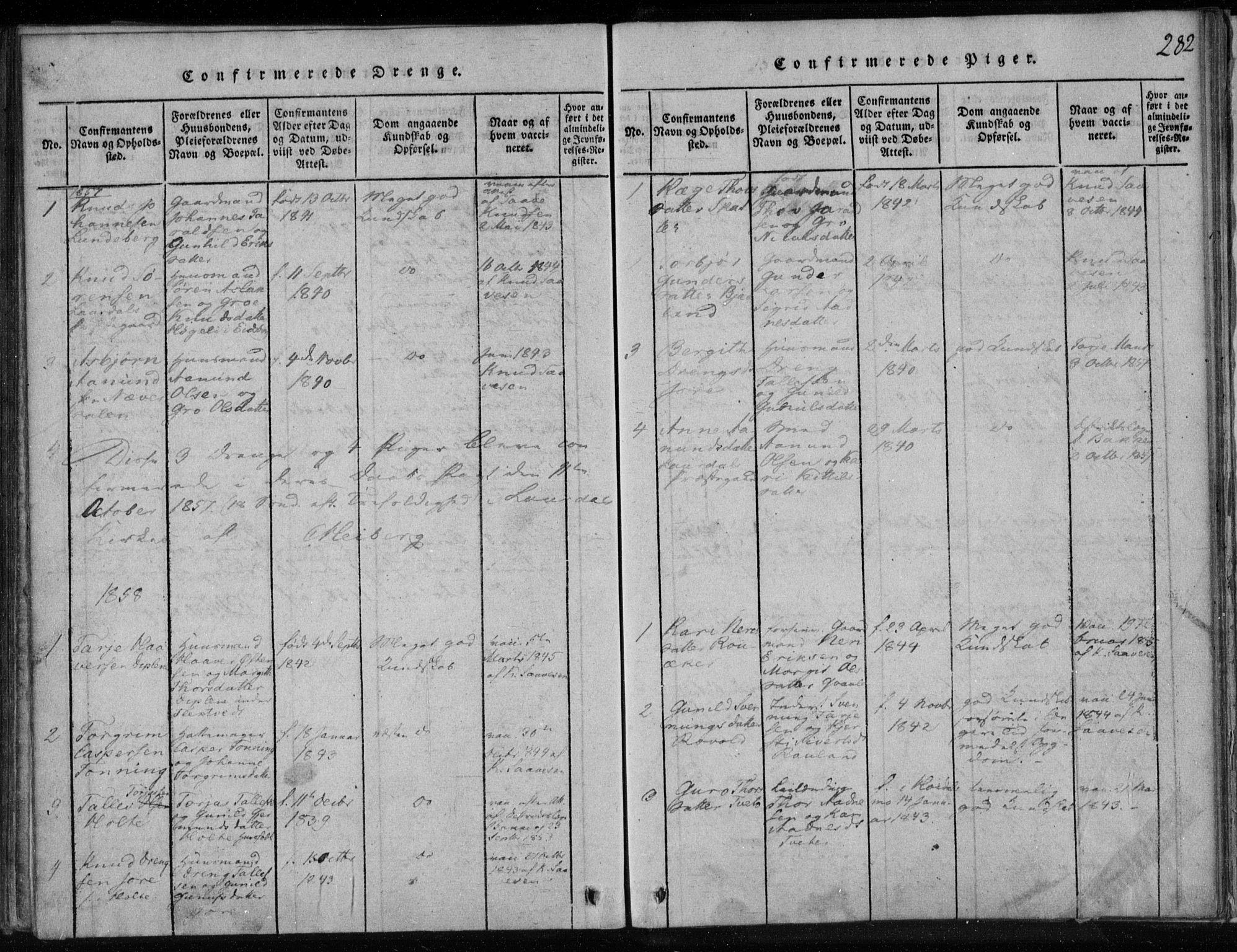 SAKO, Lårdal kirkebøker, F/Fa/L0005: Ministerialbok nr. I 5, 1815-1860, s. 282