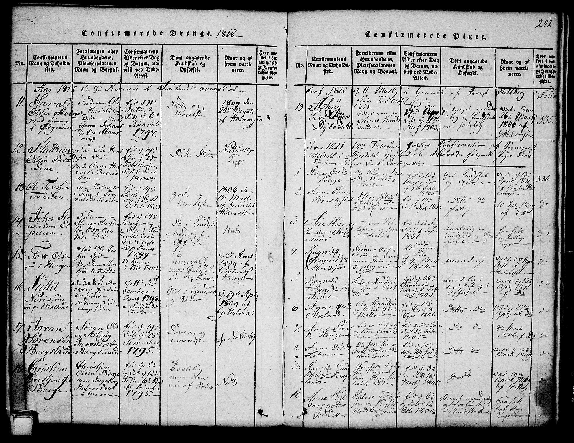 SAKO, Hjartdal kirkebøker, G/Ga/L0001: Klokkerbok nr. I 1, 1815-1842, s. 242
