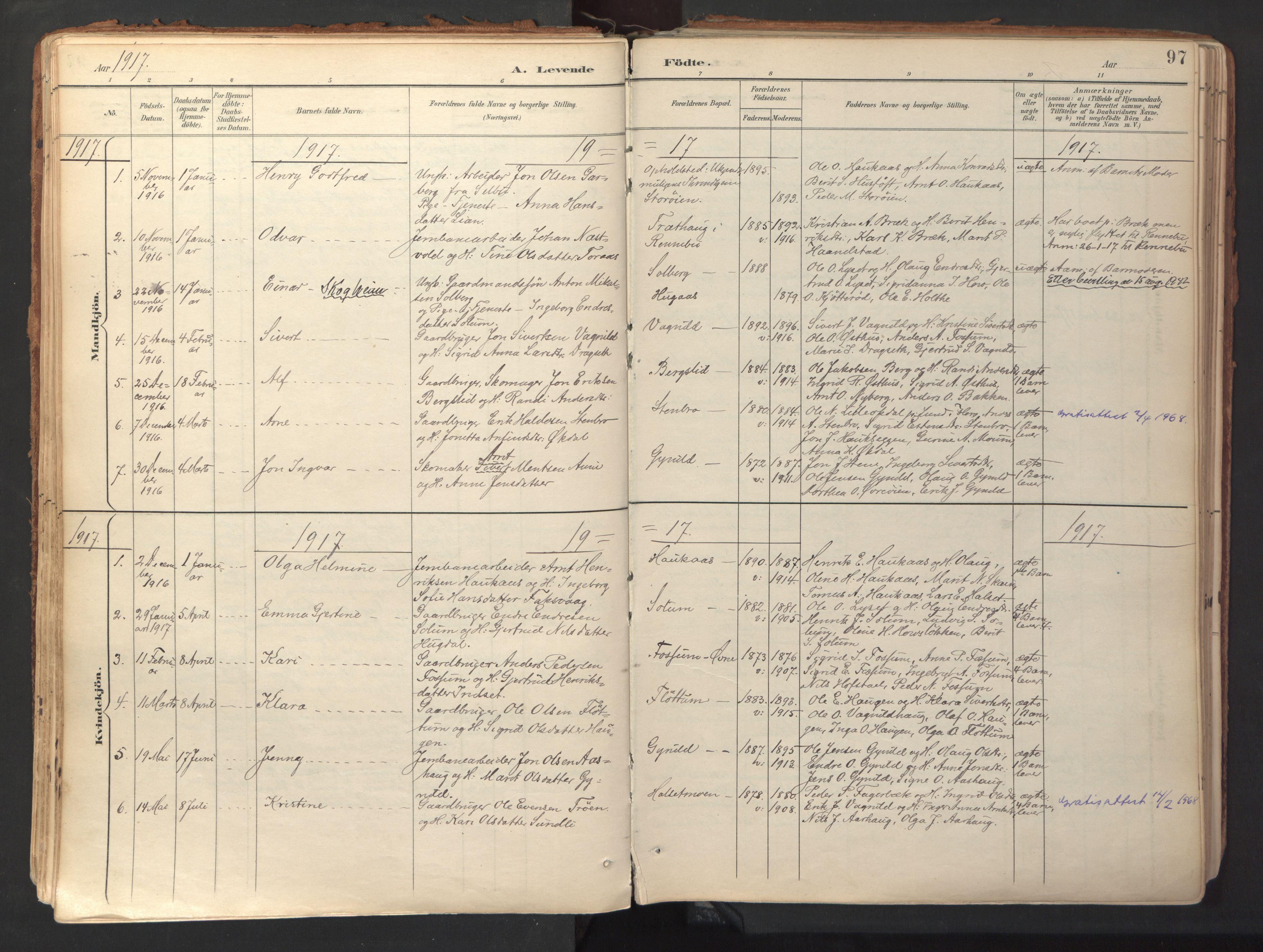 SAT, Ministerialprotokoller, klokkerbøker og fødselsregistre - Sør-Trøndelag, 689/L1041: Ministerialbok nr. 689A06, 1891-1923, s. 97