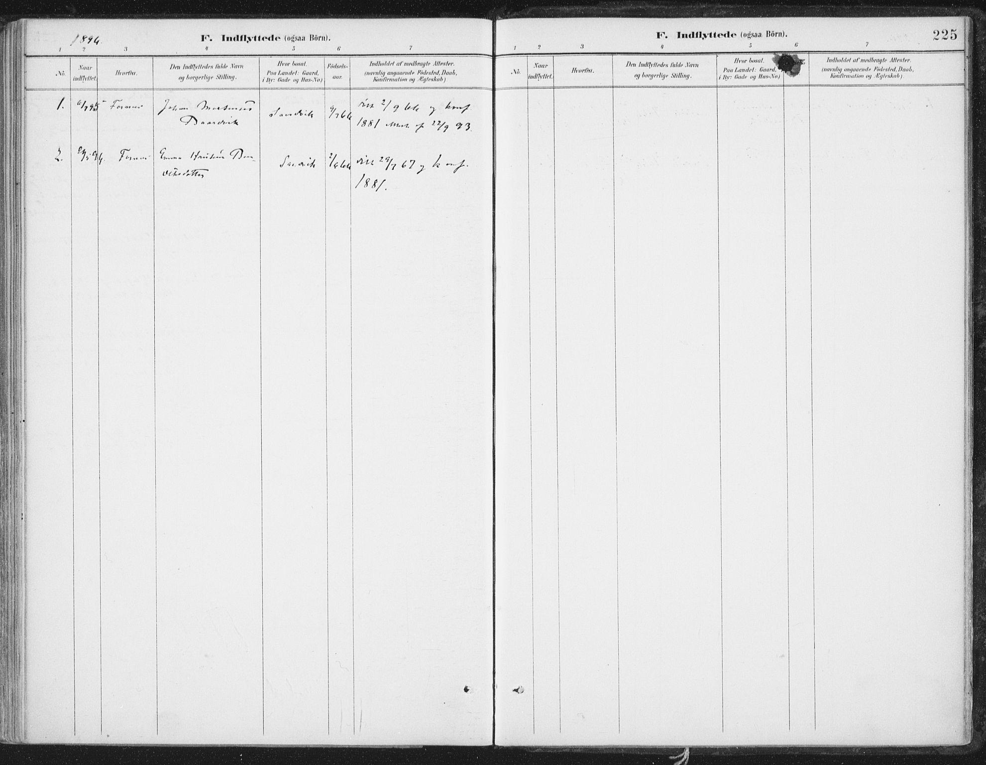 SAT, Ministerialprotokoller, klokkerbøker og fødselsregistre - Nord-Trøndelag, 786/L0687: Ministerialbok nr. 786A03, 1888-1898, s. 225