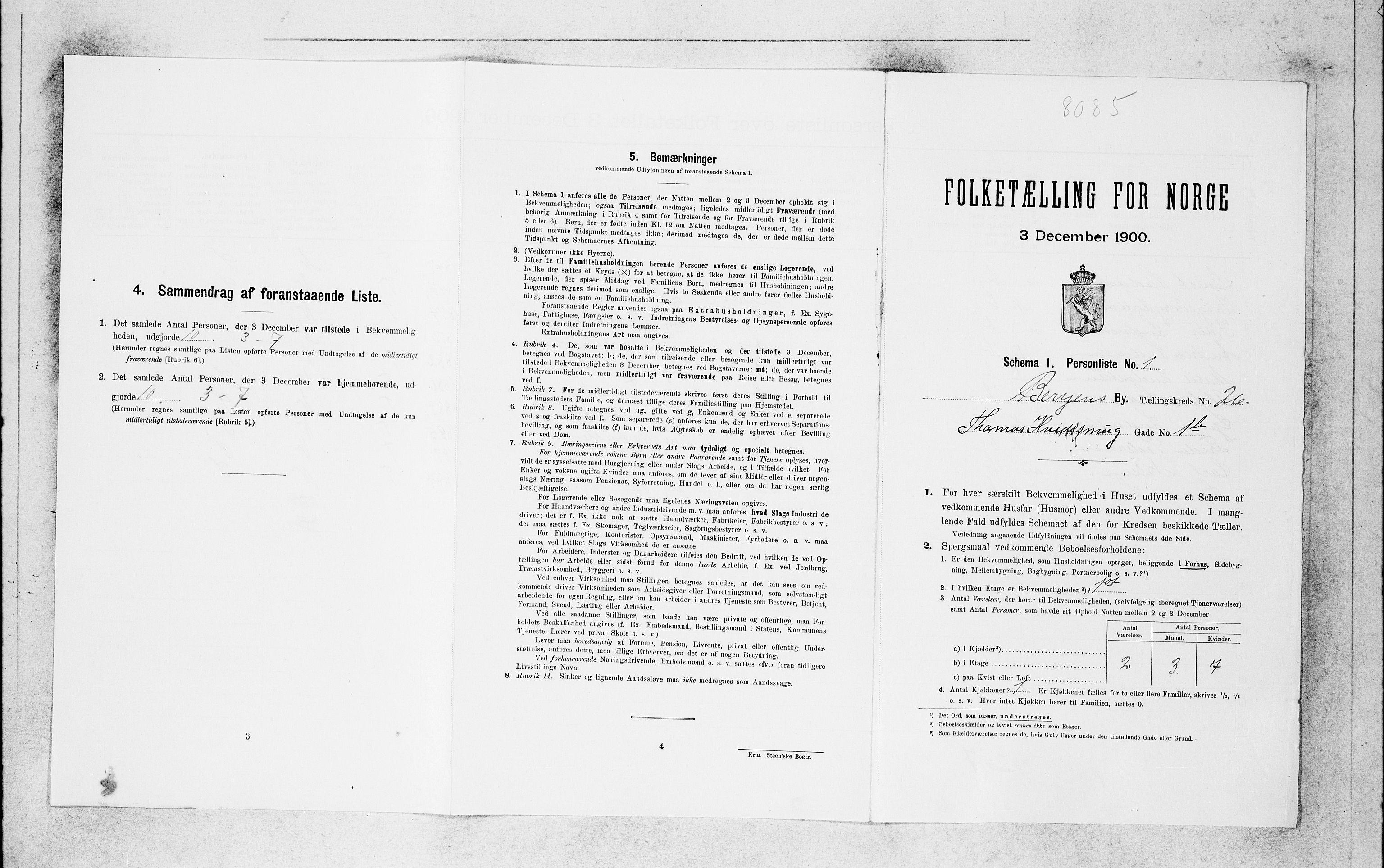 SAB, Folketelling 1900 for 1301 Bergen kjøpstad, 1900, s. 5476