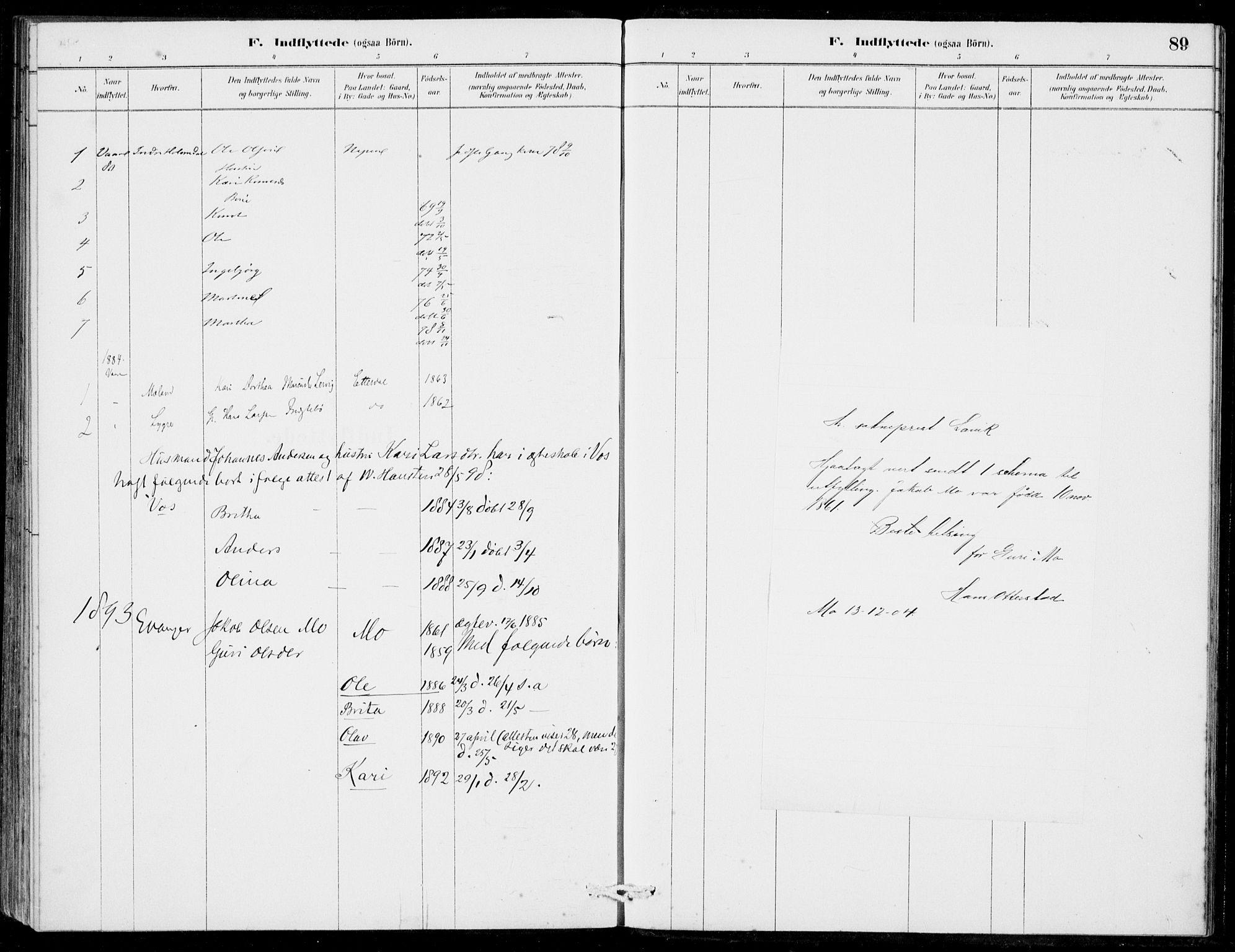 SAB, Hosanger Sokneprestembete, H/Haa: Ministerialbok nr. C  1, 1880-1900, s. 89