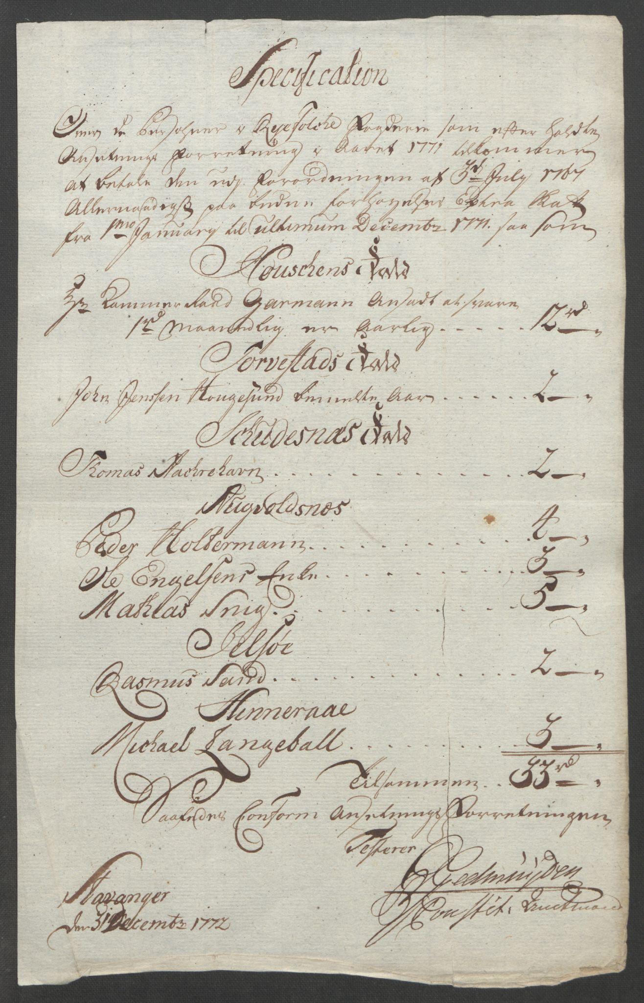 RA, Rentekammeret inntil 1814, Reviderte regnskaper, Fogderegnskap, R47/L2972: Ekstraskatten Ryfylke, 1762-1780, s. 285
