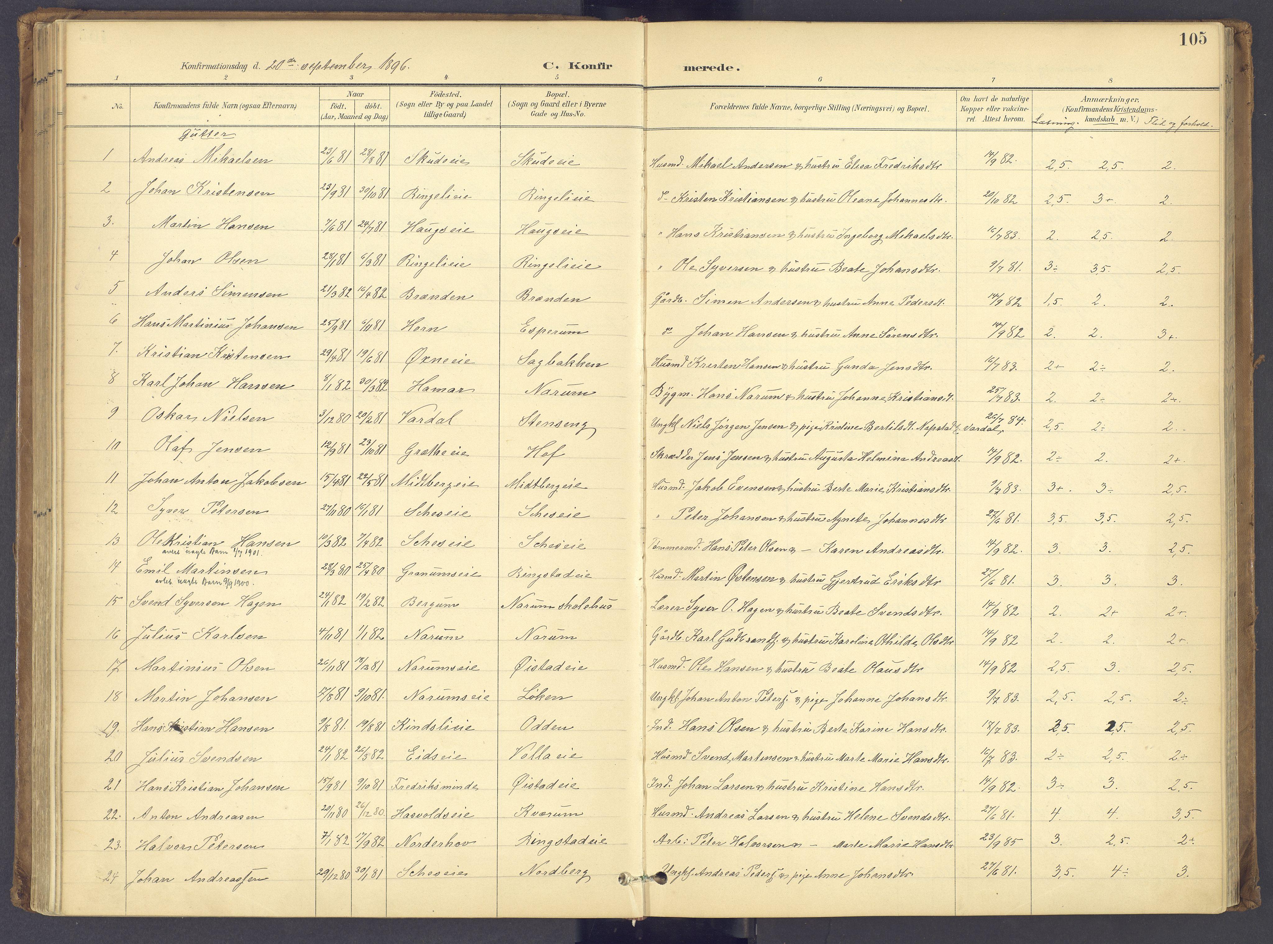 SAH, Søndre Land prestekontor, K/L0006: Ministerialbok nr. 6, 1895-1904, s. 105