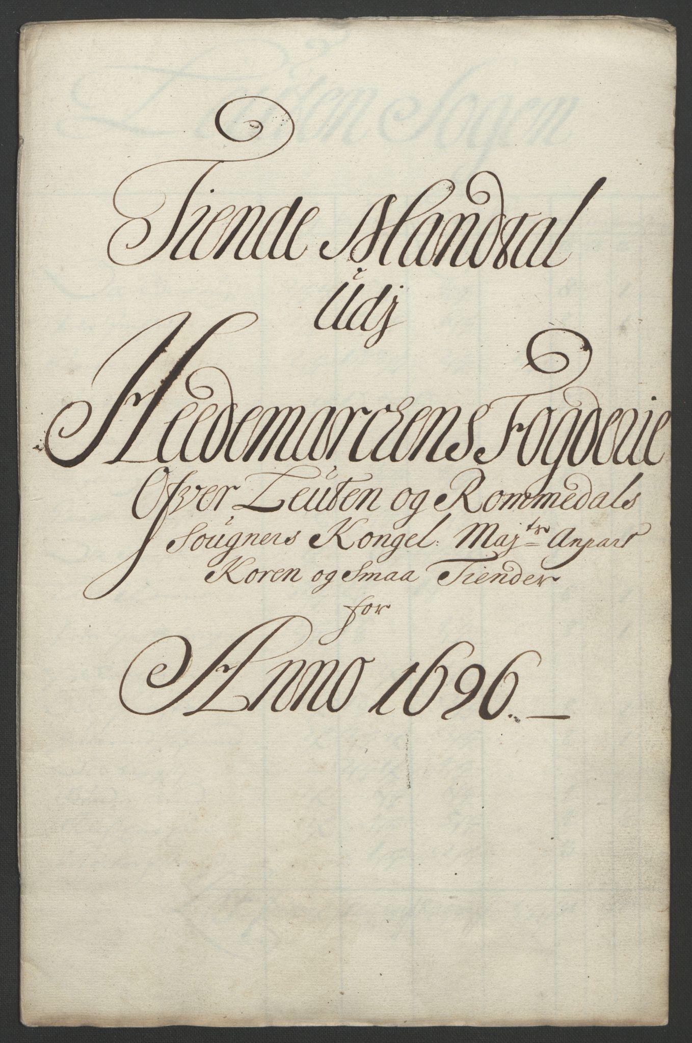 RA, Rentekammeret inntil 1814, Reviderte regnskaper, Fogderegnskap, R16/L1036: Fogderegnskap Hedmark, 1695-1696, s. 306