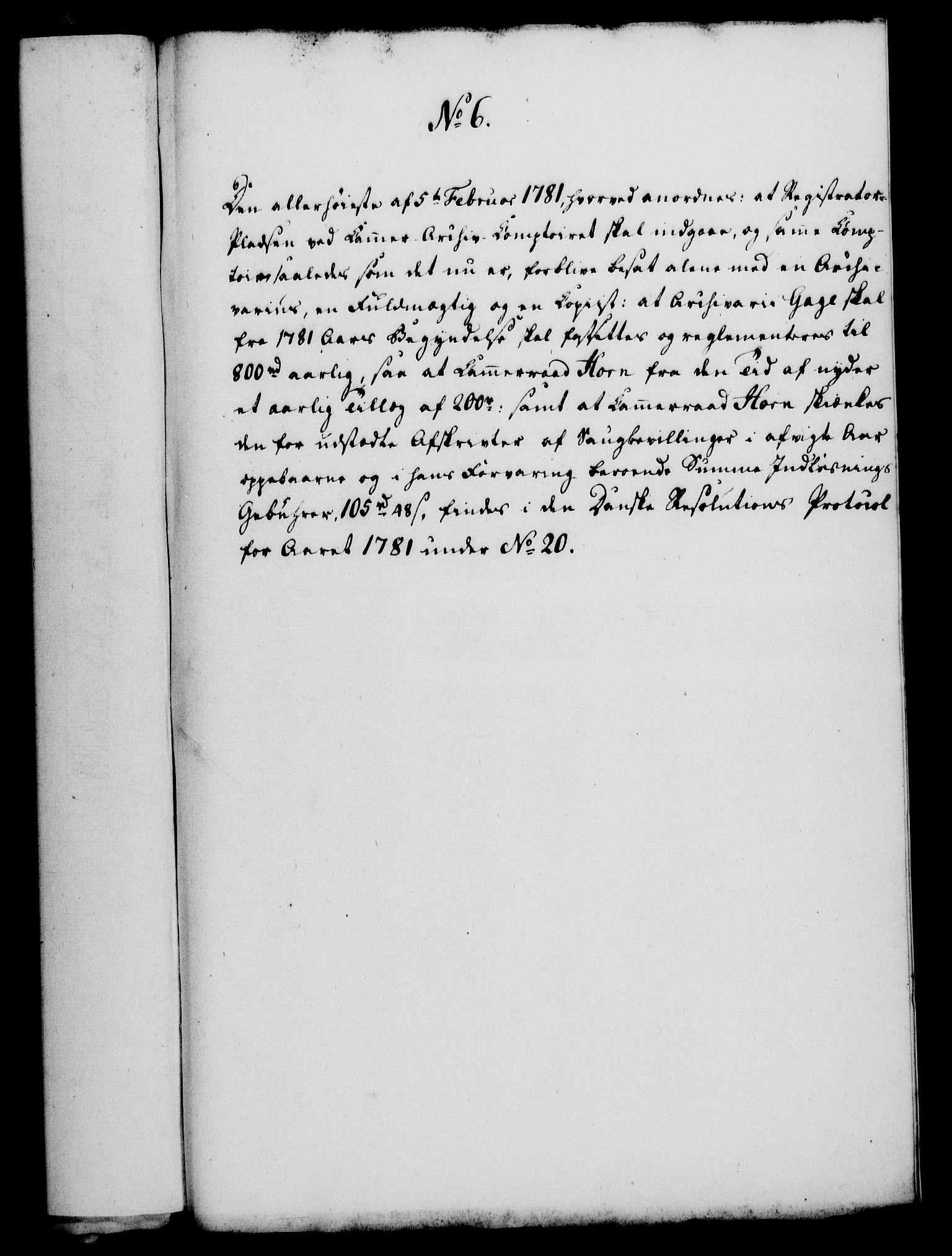 RA, Rentekammeret, Kammerkanselliet, G/Gf/Gfa/L0063: Norsk relasjons- og resolusjonsprotokoll (merket RK 52.63), 1781, s. 61