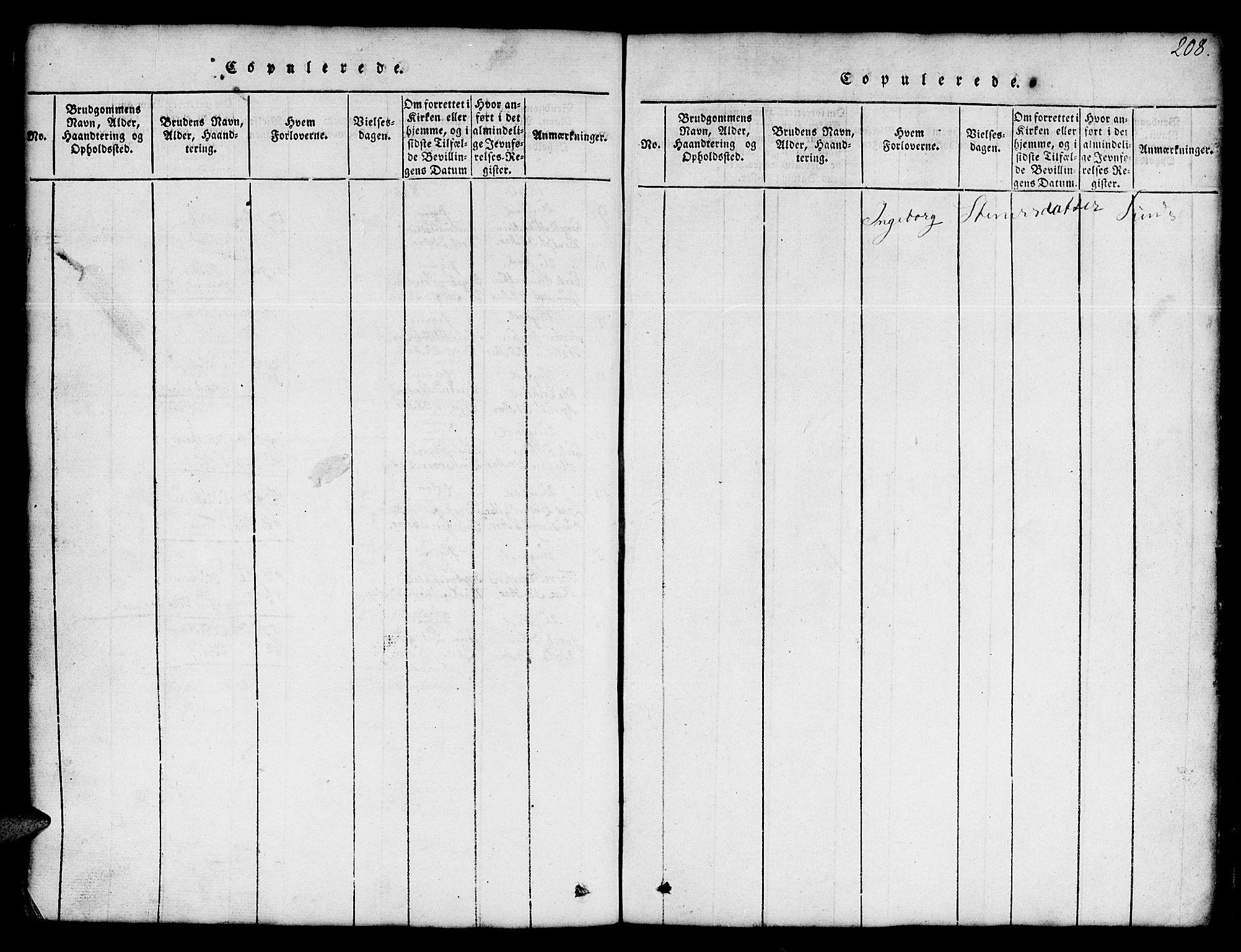 SAT, Ministerialprotokoller, klokkerbøker og fødselsregistre - Sør-Trøndelag, 674/L0874: Klokkerbok nr. 674C01, 1816-1860, s. 208