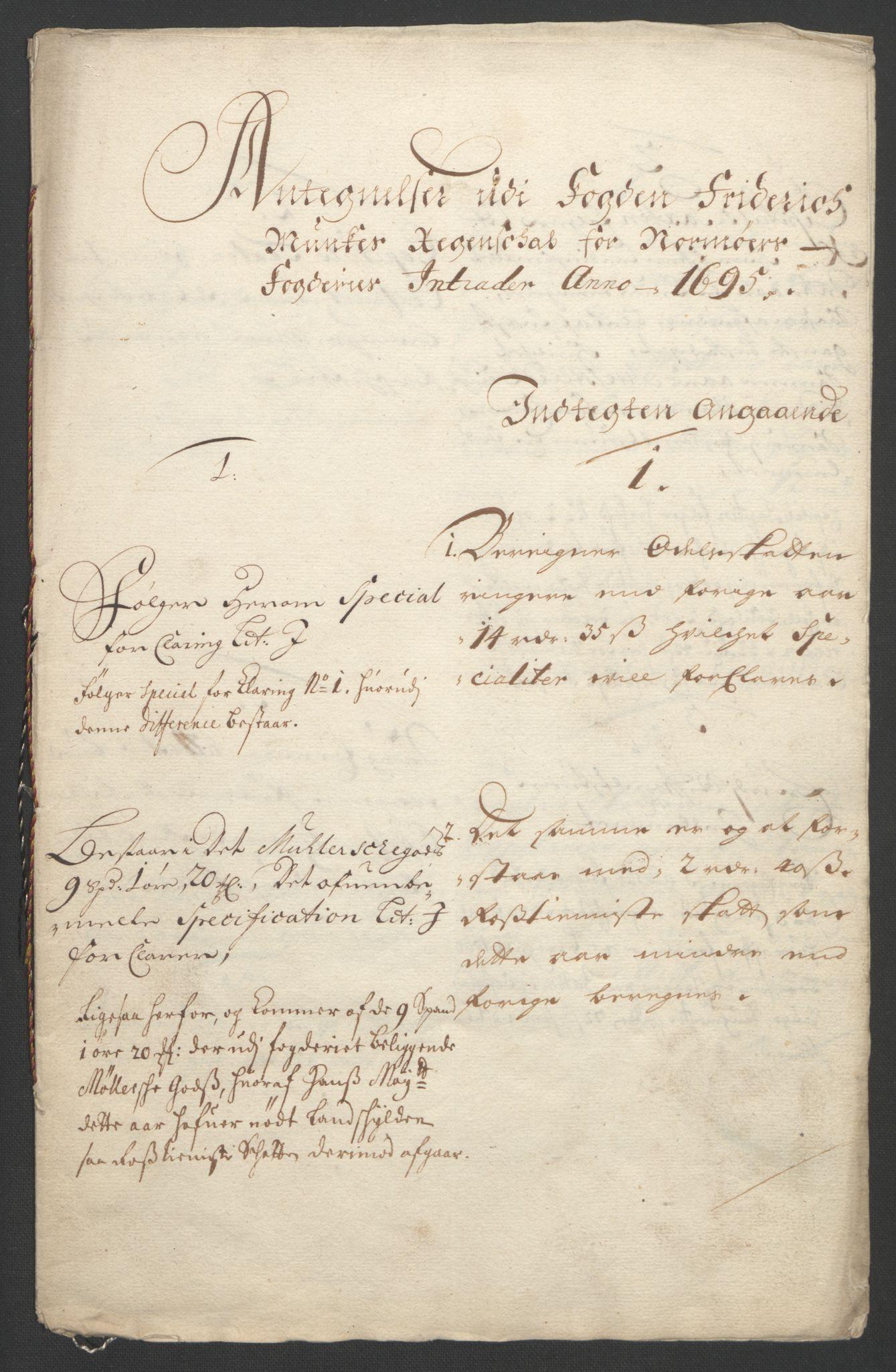 RA, Rentekammeret inntil 1814, Reviderte regnskaper, Fogderegnskap, R56/L3736: Fogderegnskap Nordmøre, 1694-1696, s. 312