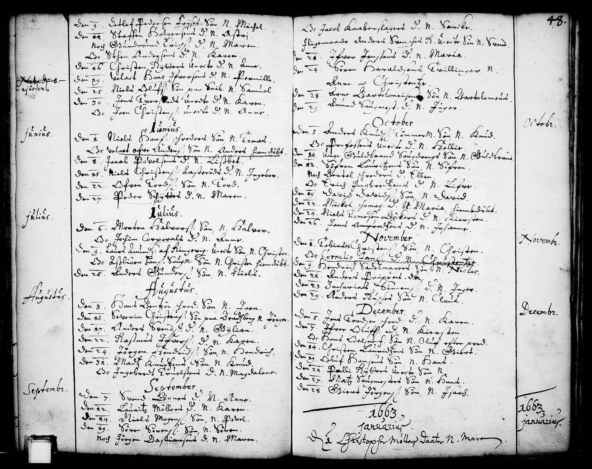 SAKO, Skien kirkebøker, F/Fa/L0001: Ministerialbok nr. 1, 1659-1679, s. 48