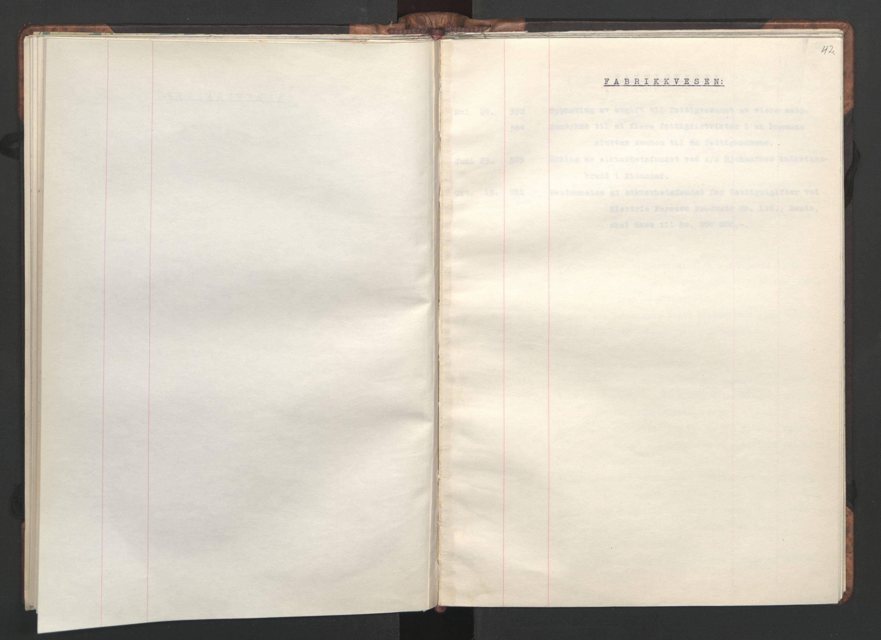 RA, NS-administrasjonen 1940-1945 (Statsrådsekretariatet, de kommisariske statsråder mm), D/Da/L0002: Register (RA j.nr. 985/1943, tilgangsnr. 17/1943), 1942, s. 41b-42a