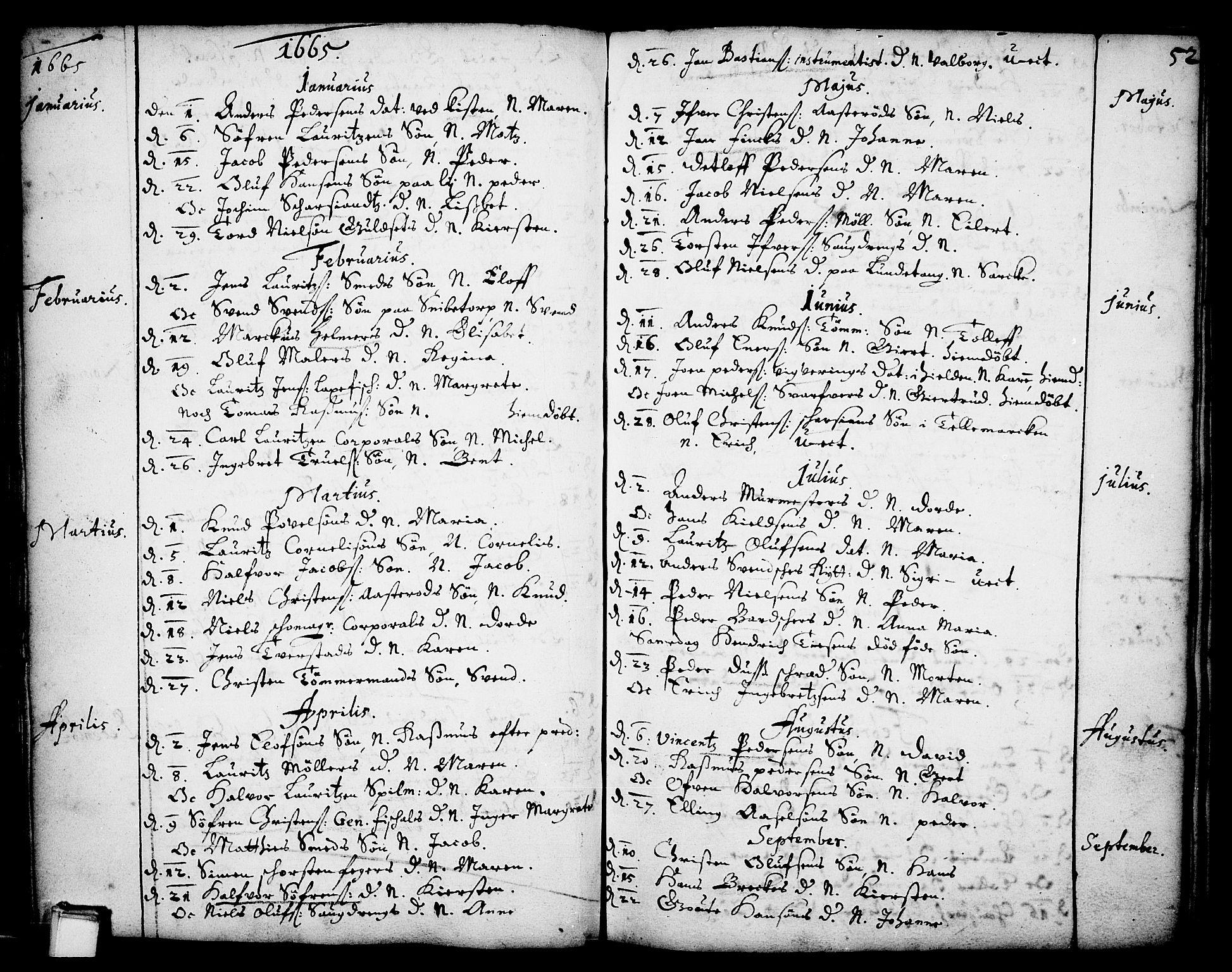 SAKO, Skien kirkebøker, F/Fa/L0001: Ministerialbok nr. 1, 1659-1679, s. 52