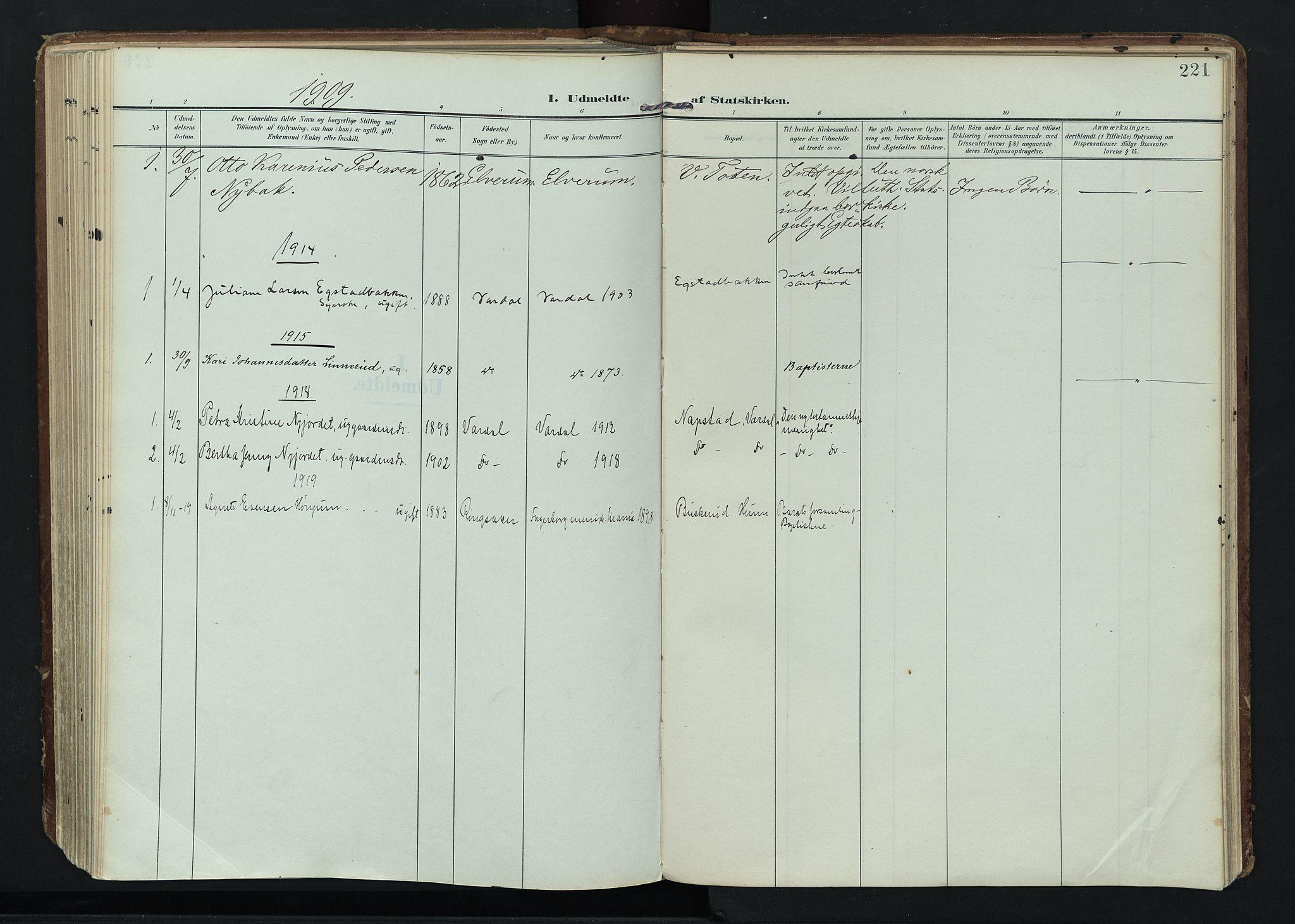 SAH, Vardal prestekontor, H/Ha/Haa/L0020: Ministerialbok nr. 20, 1907-1921, s. 221