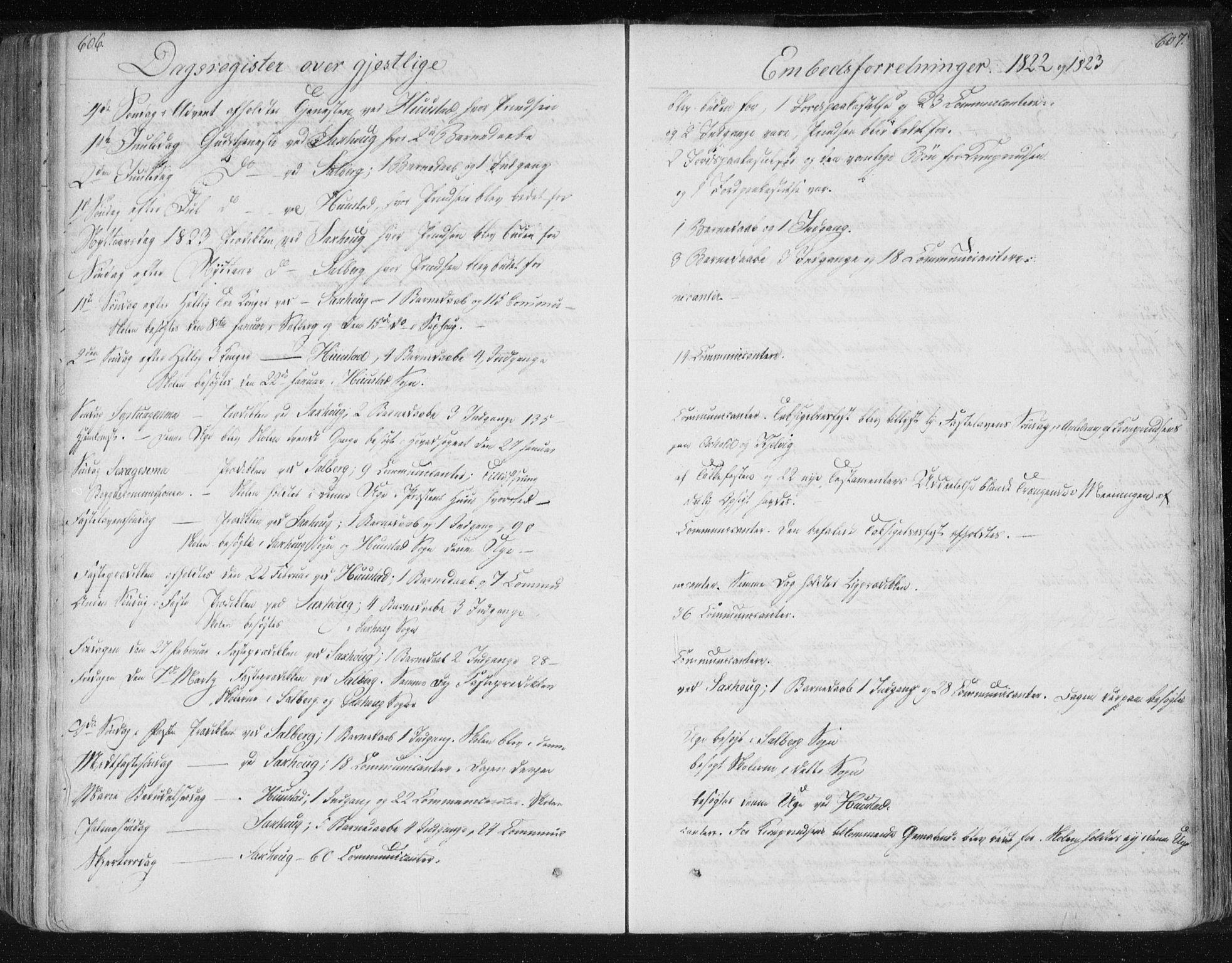 SAT, Ministerialprotokoller, klokkerbøker og fødselsregistre - Nord-Trøndelag, 730/L0276: Ministerialbok nr. 730A05, 1822-1830, s. 606-607