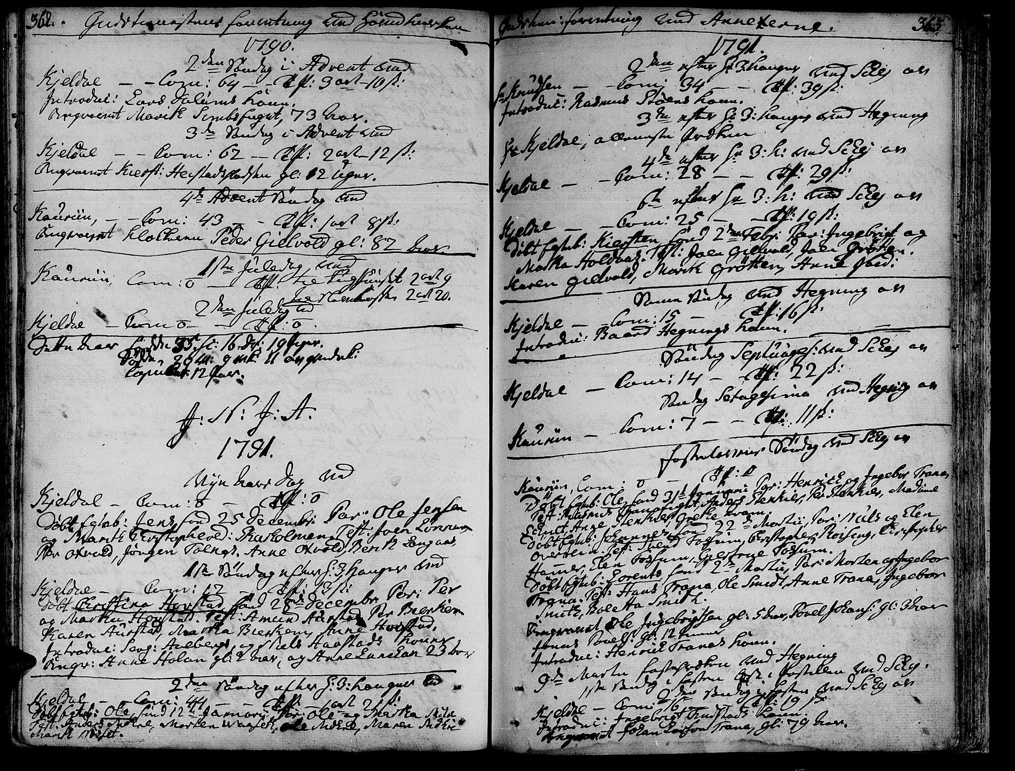 SAT, Ministerialprotokoller, klokkerbøker og fødselsregistre - Nord-Trøndelag, 735/L0331: Ministerialbok nr. 735A02, 1762-1794, s. 362-363