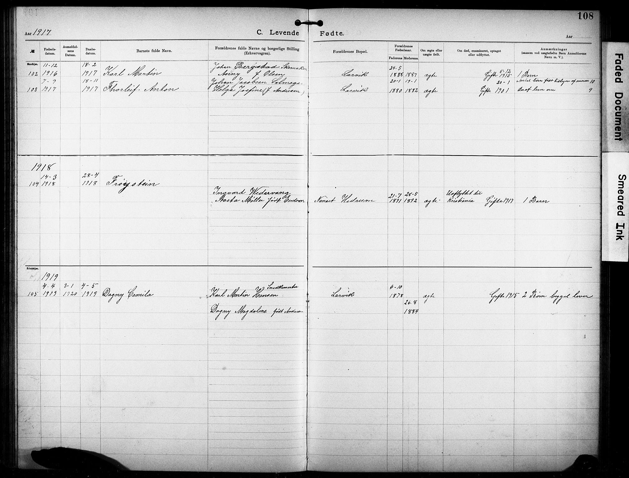 SAKO, Den katolsk-apostoliske menighet i Larvik, F/Fa/L0001: Dissenterprotokoll nr. 1, 1892-1933, s. 108