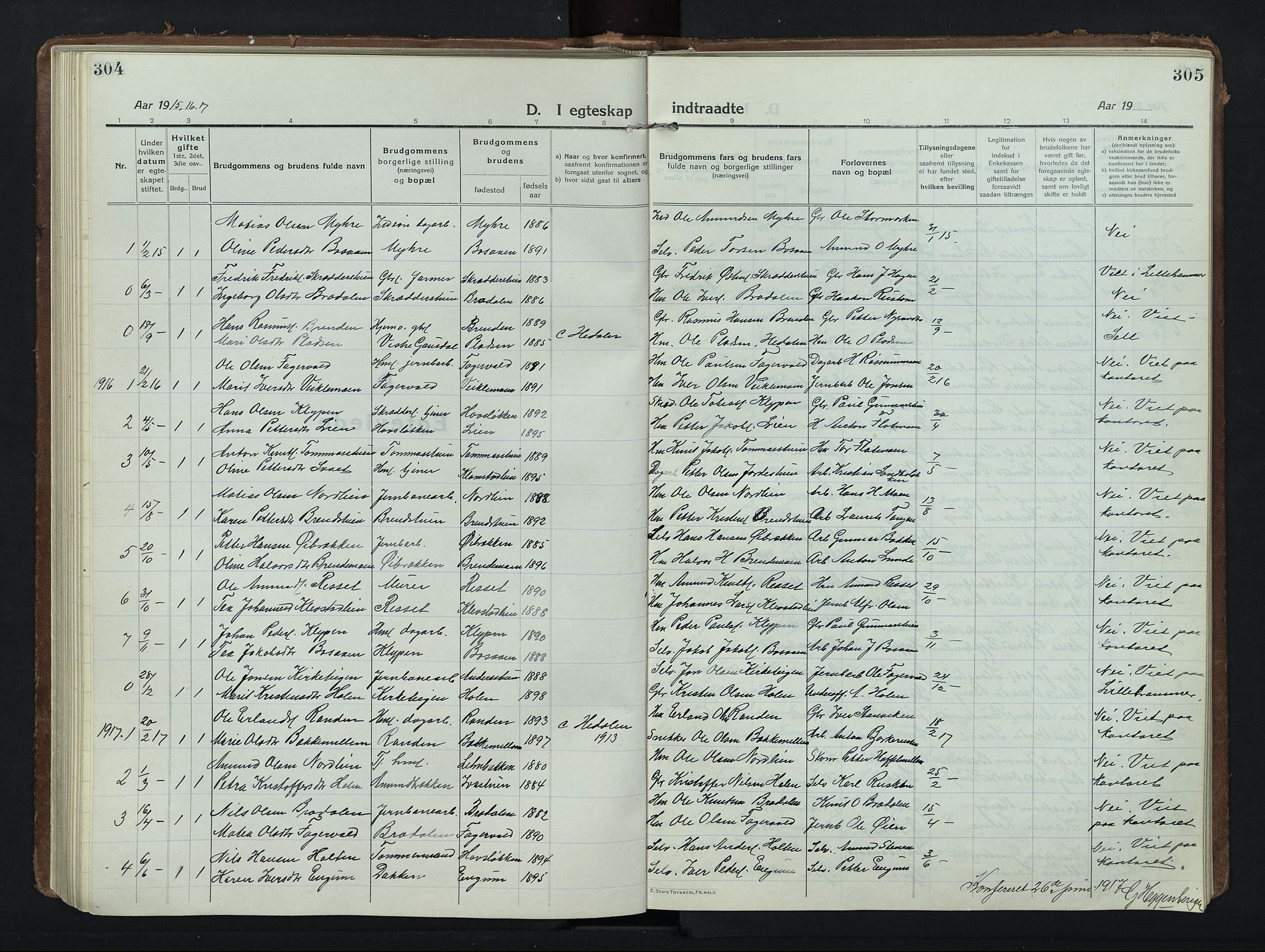 SAH, Nord-Fron prestekontor, Klokkerbok nr. 8, 1915-1948, s. 304-305