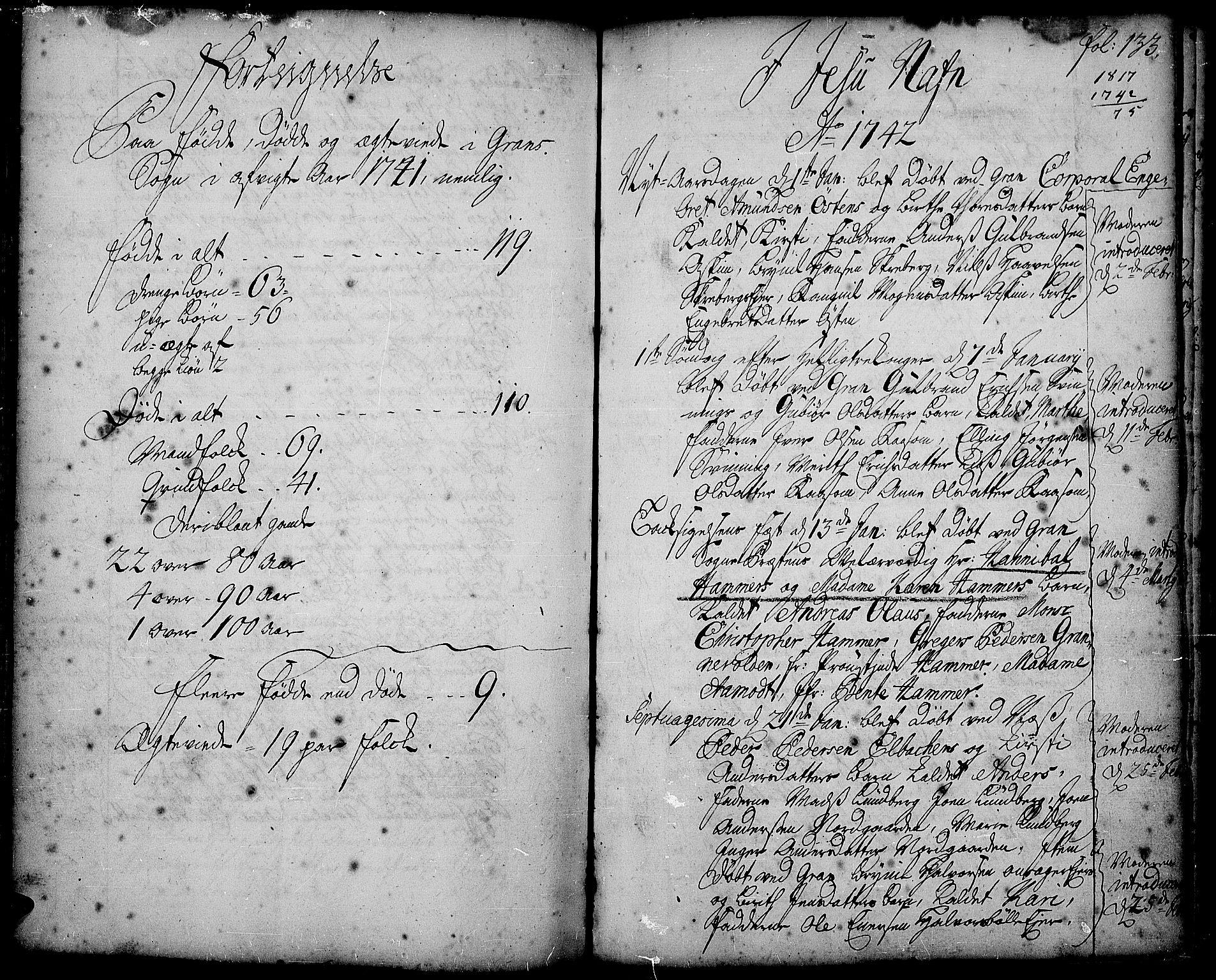 SAH, Gran prestekontor, Ministerialbok nr. 2, 1732-1744, s. 133
