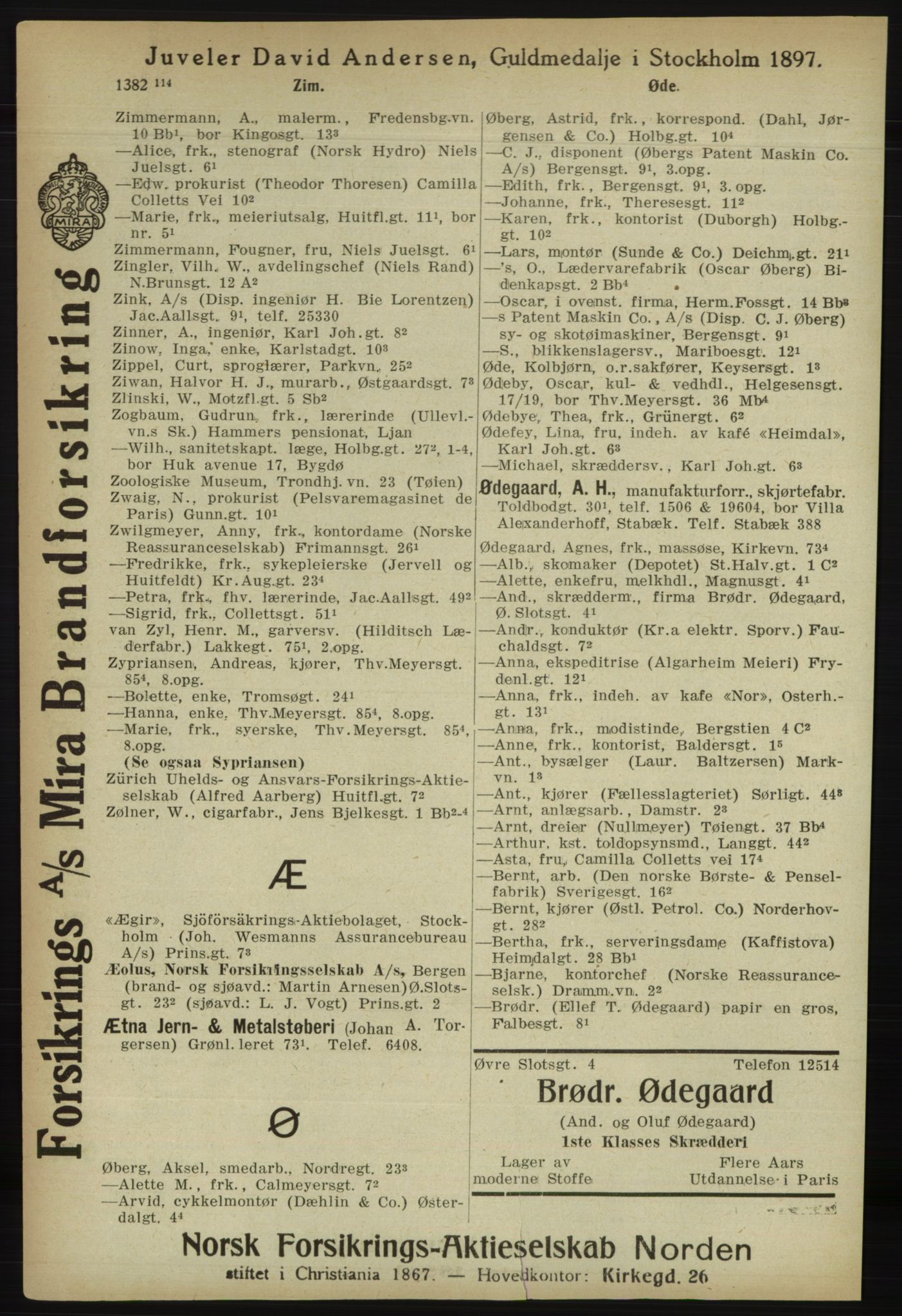 RA, Kristiania adressebok (publikasjon)*, 1918, s. 1487