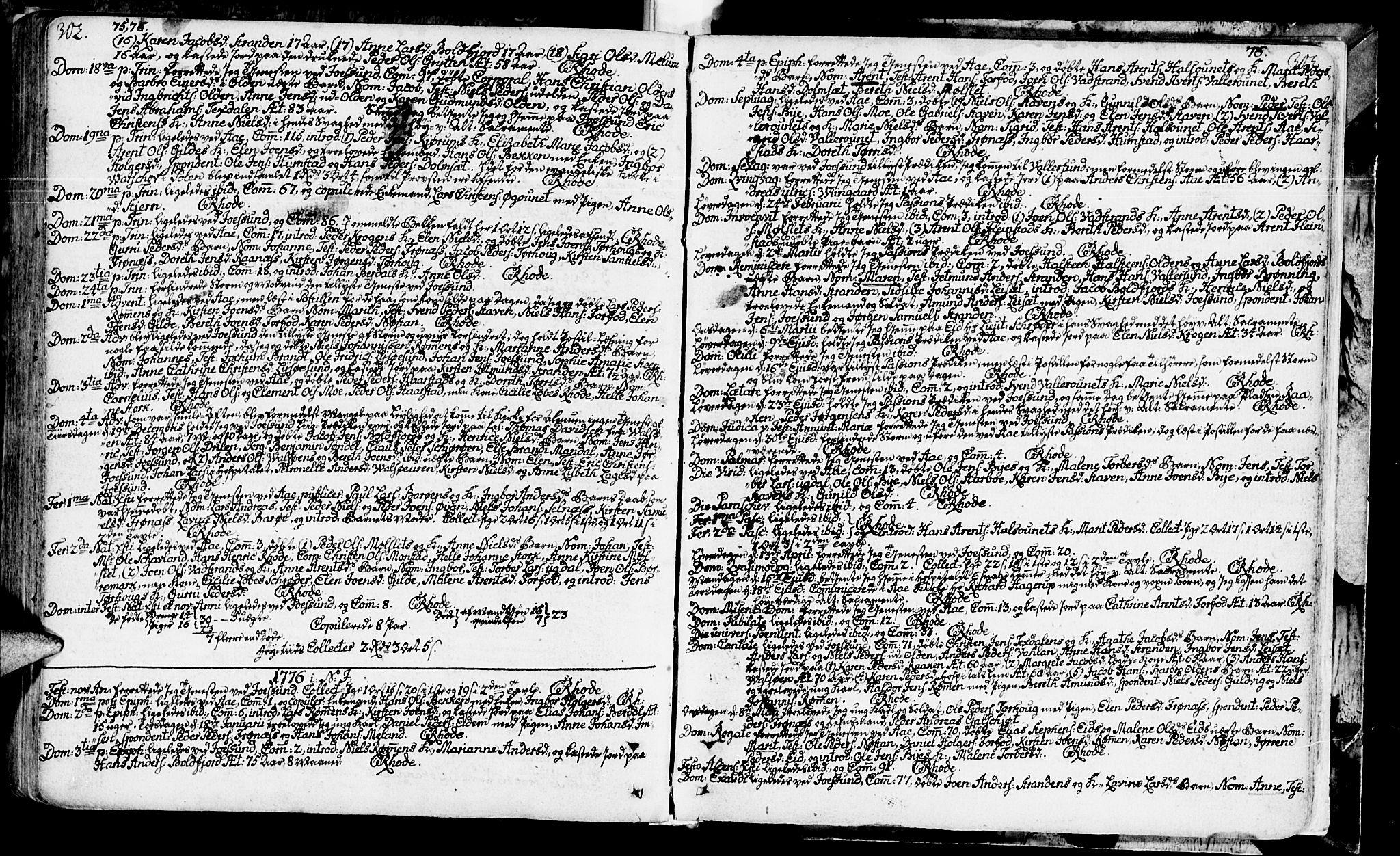 SAT, Ministerialprotokoller, klokkerbøker og fødselsregistre - Sør-Trøndelag, 655/L0672: Ministerialbok nr. 655A01, 1750-1779, s. 302-303