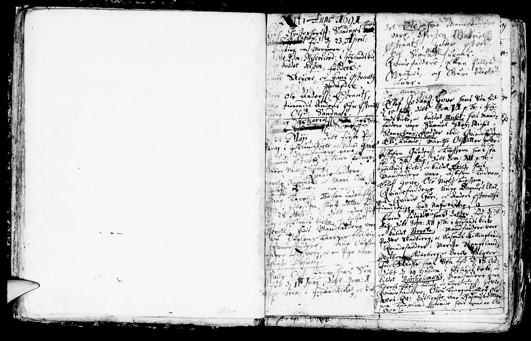 SAST, Høyland sokneprestkontor, 30BA/L0001: Ministerialbok nr. A 1, 1691-1732