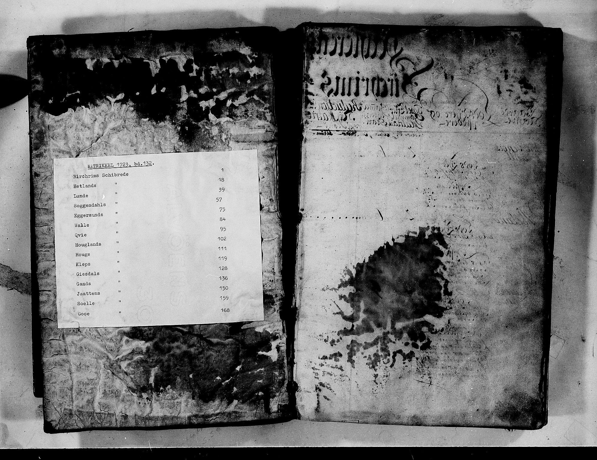 RA, Rentekammeret inntil 1814, Realistisk ordnet avdeling, N/Nb/Nbf/L0132: Jæren og Dalane matrikkelprotokoll, 1723, s. upaginert