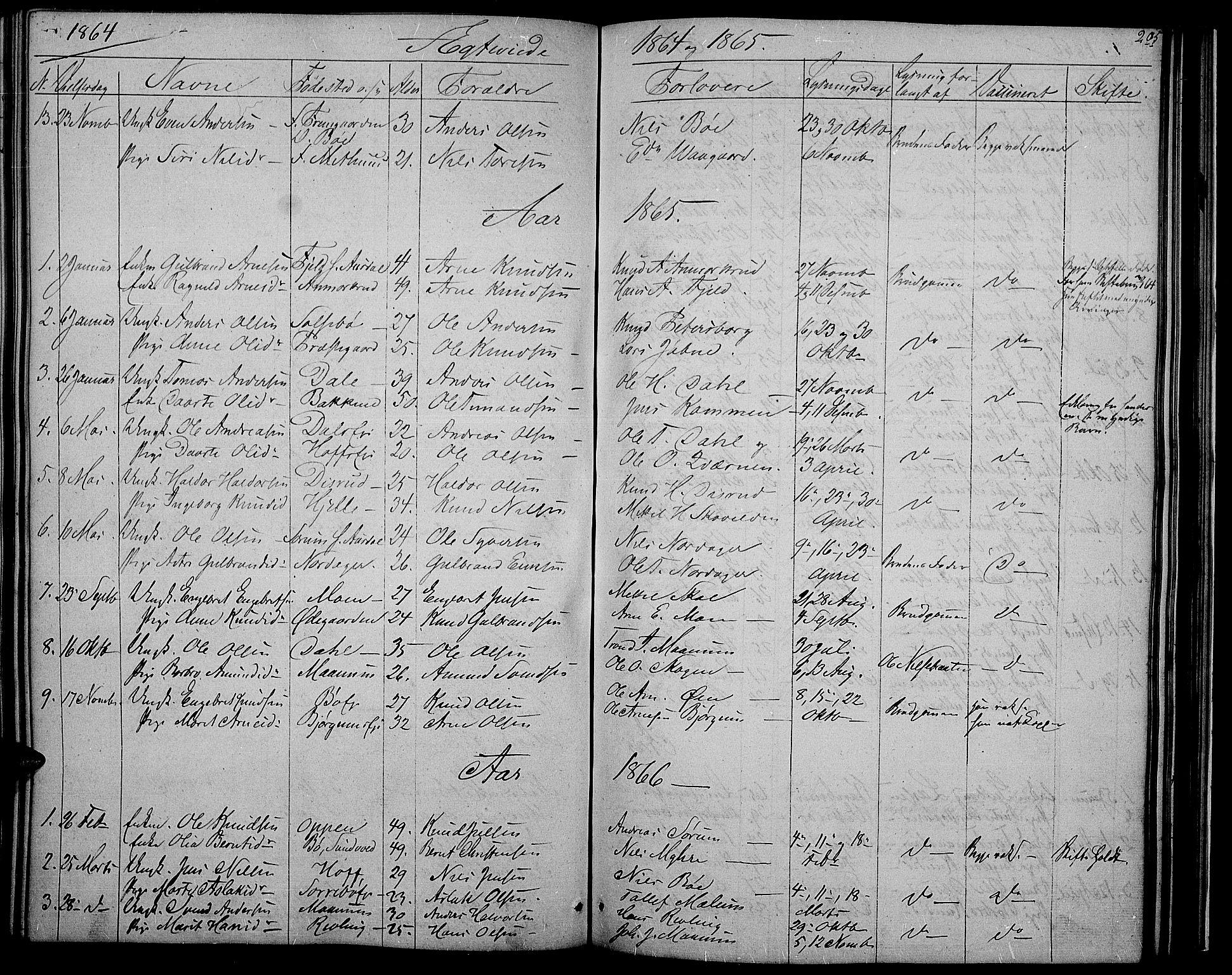 SAH, Nord-Aurdal prestekontor, Klokkerbok nr. 2, 1842-1877, s. 205