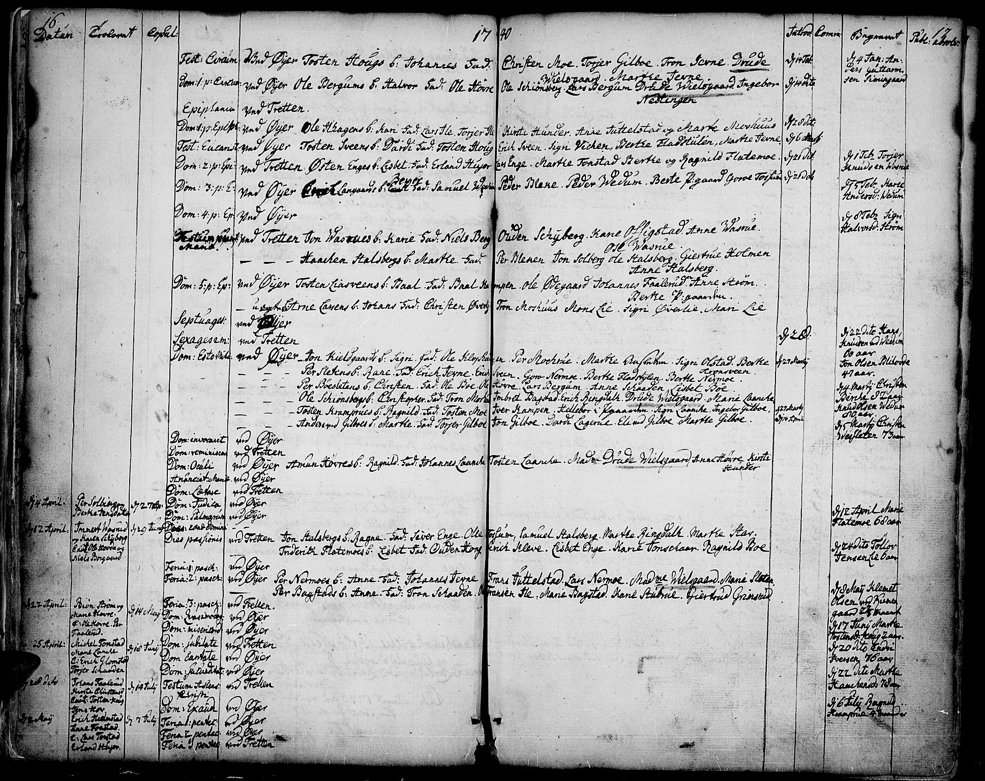 SAH, Øyer prestekontor, Ministerialbok nr. 2, 1733-1784, s. 16-17