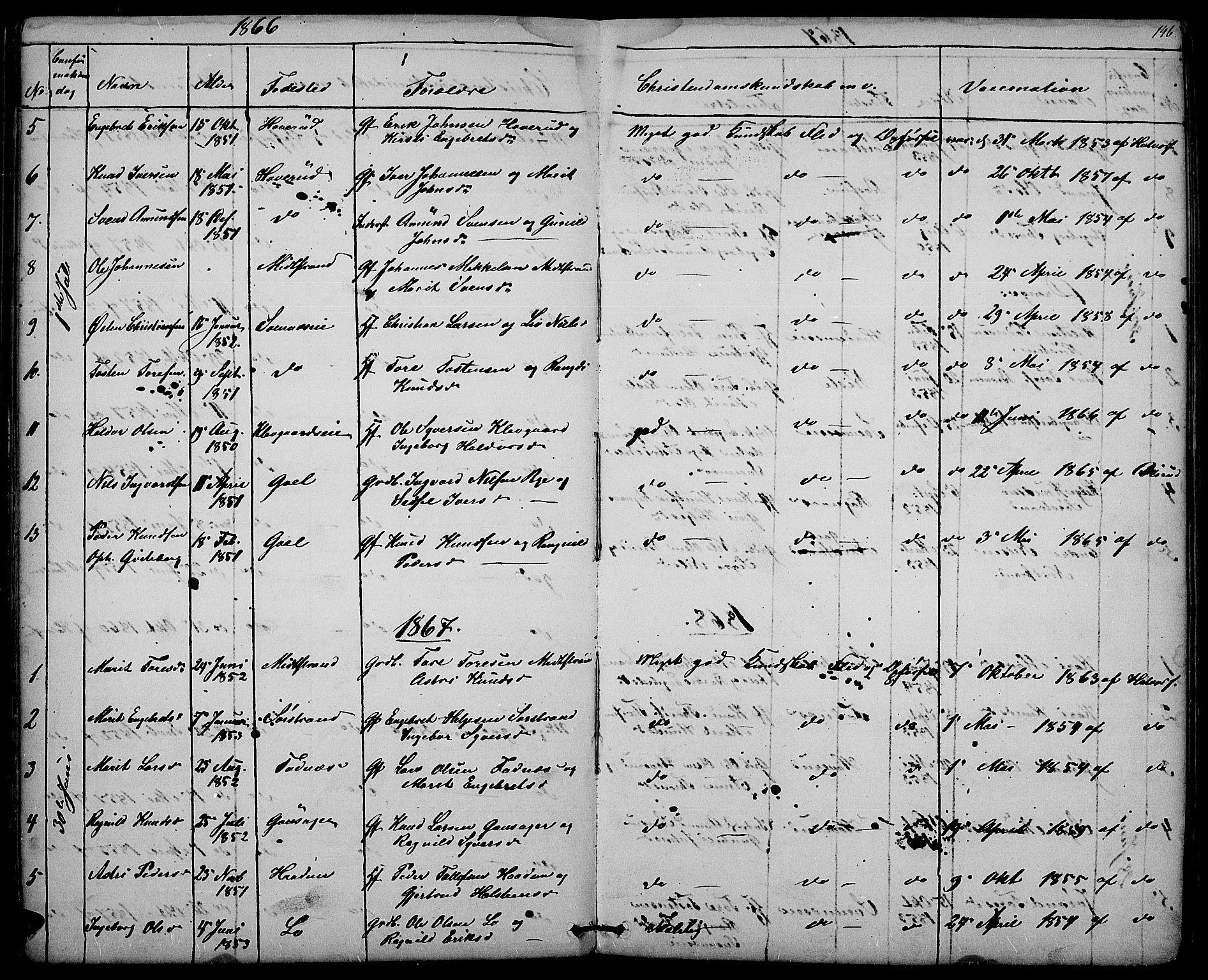 SAH, Nord-Aurdal prestekontor, Klokkerbok nr. 3, 1842-1882, s. 146