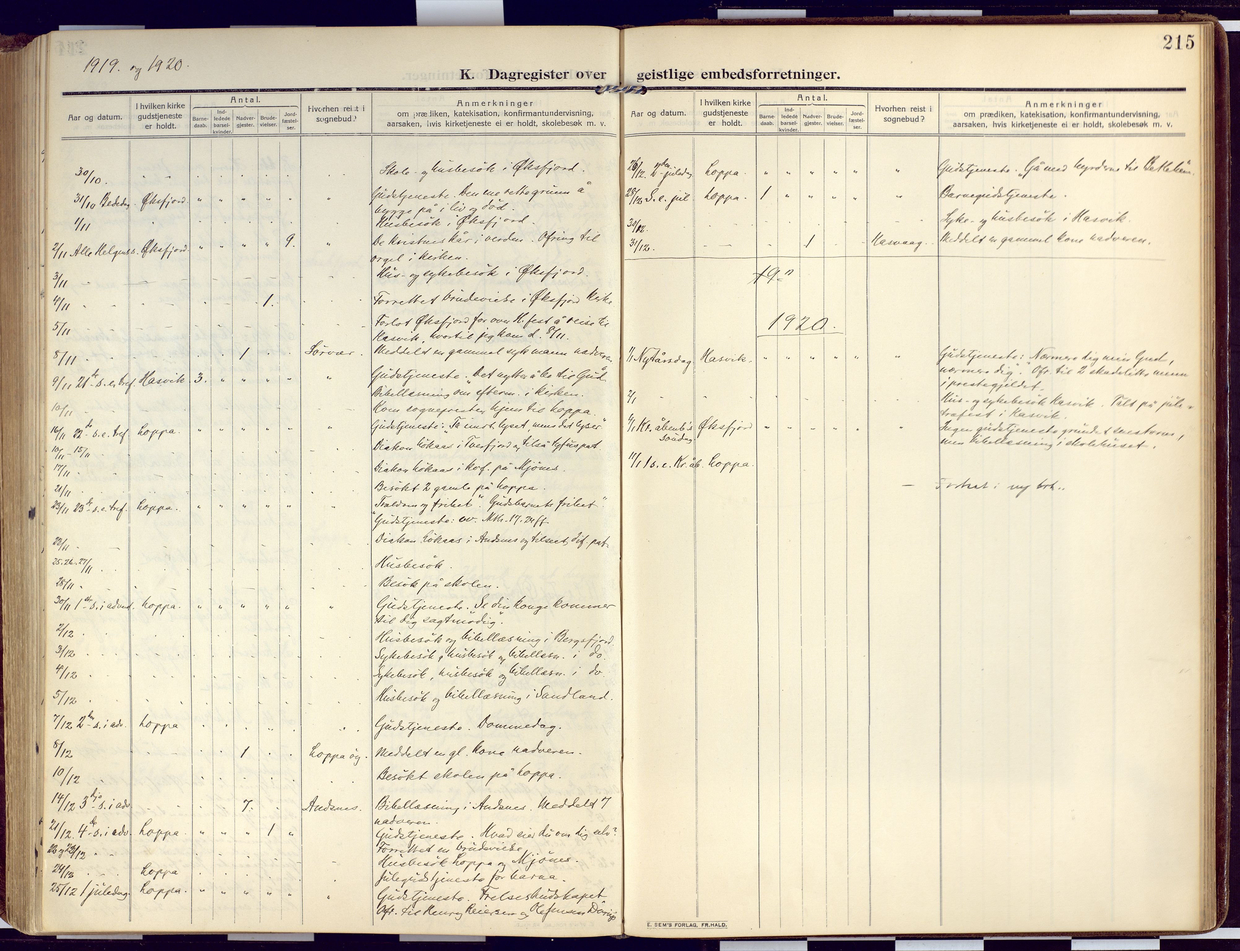SATØ, Loppa sokneprestkontor, H/Ha/L0011kirke: Ministerialbok nr. 11, 1909-1919, s. 215