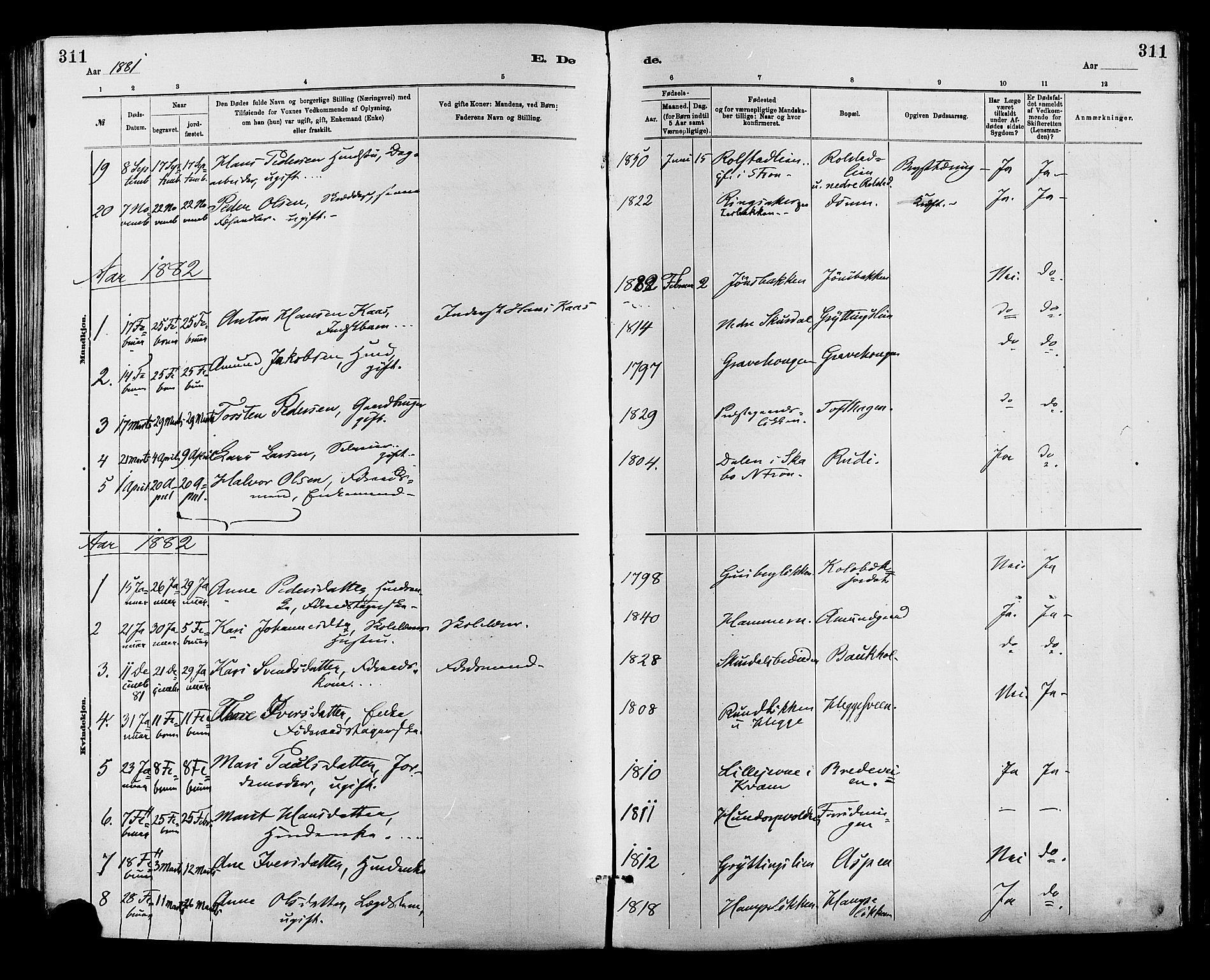 SAH, Sør-Fron prestekontor, H/Ha/Haa/L0003: Ministerialbok nr. 3, 1881-1897, s. 311