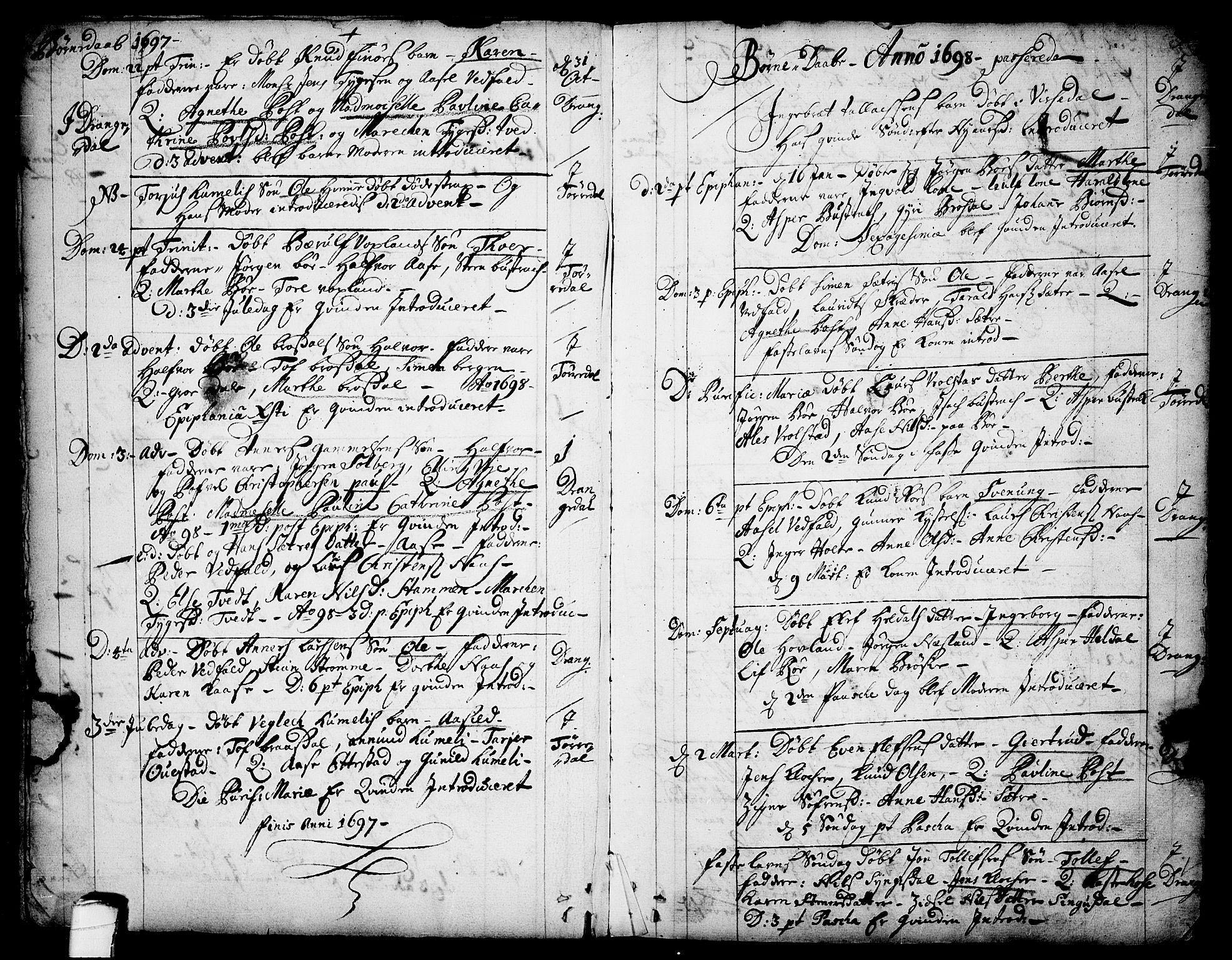 SAKO, Drangedal kirkebøker, F/Fa/L0001: Ministerialbok nr. 1, 1697-1767, s. 3