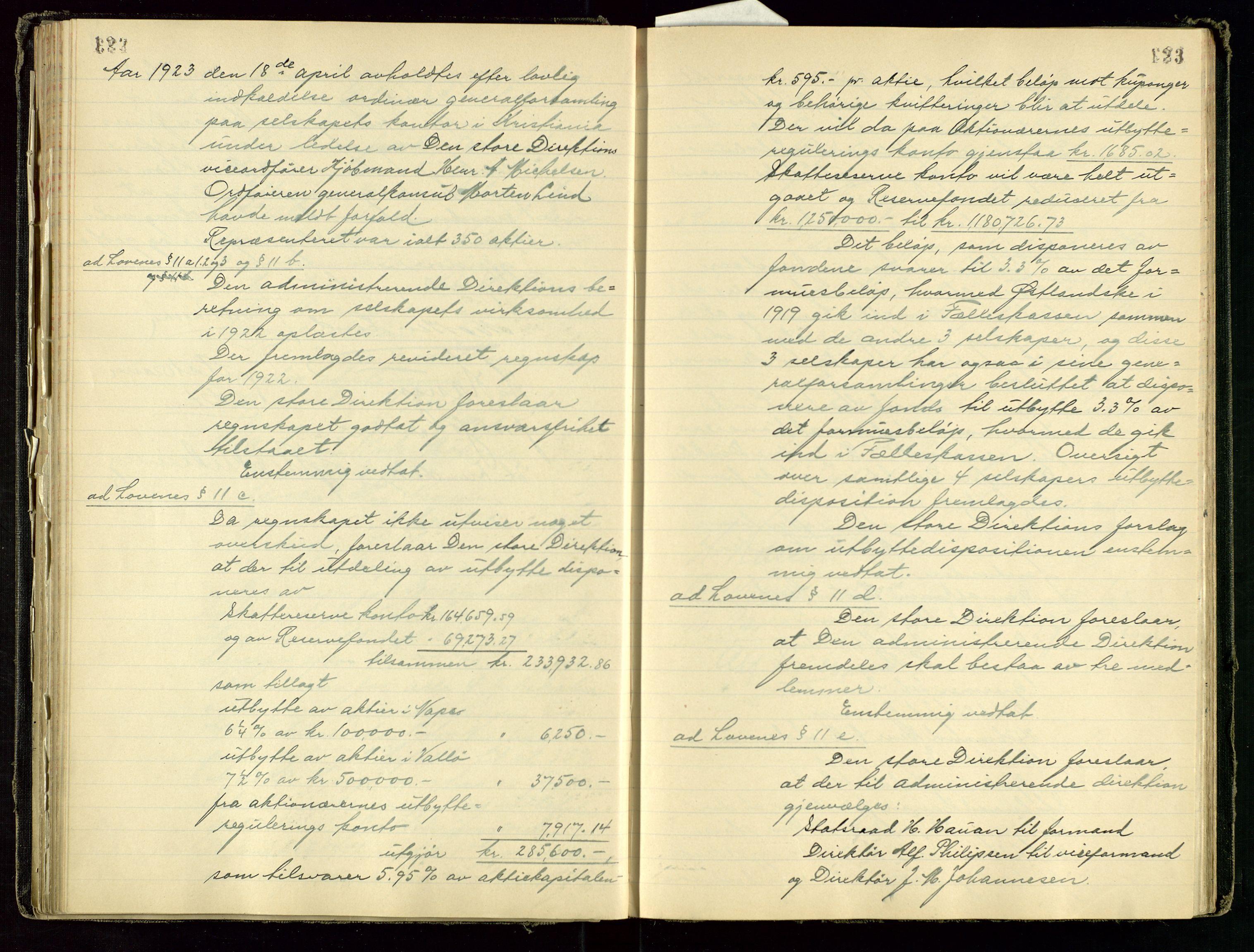 SAST, PA 1534 - Østlandske Petroleumscompagni A/S, A/Aa/L0001: Generalforsamlinger og direksjonsprotokoller., 1892-1960, s. 122-123