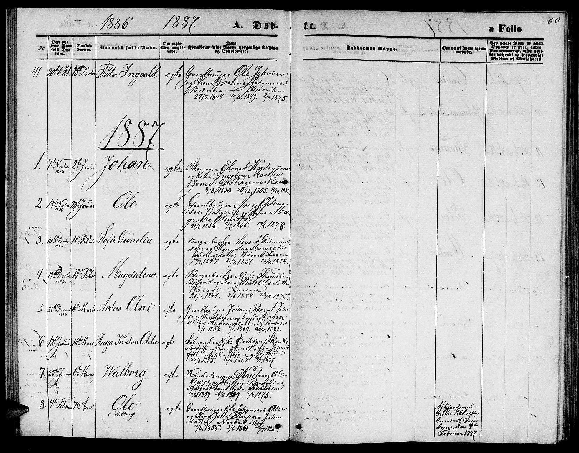 SAT, Ministerialprotokoller, klokkerbøker og fødselsregistre - Nord-Trøndelag, 722/L0225: Klokkerbok nr. 722C01, 1871-1888, s. 60