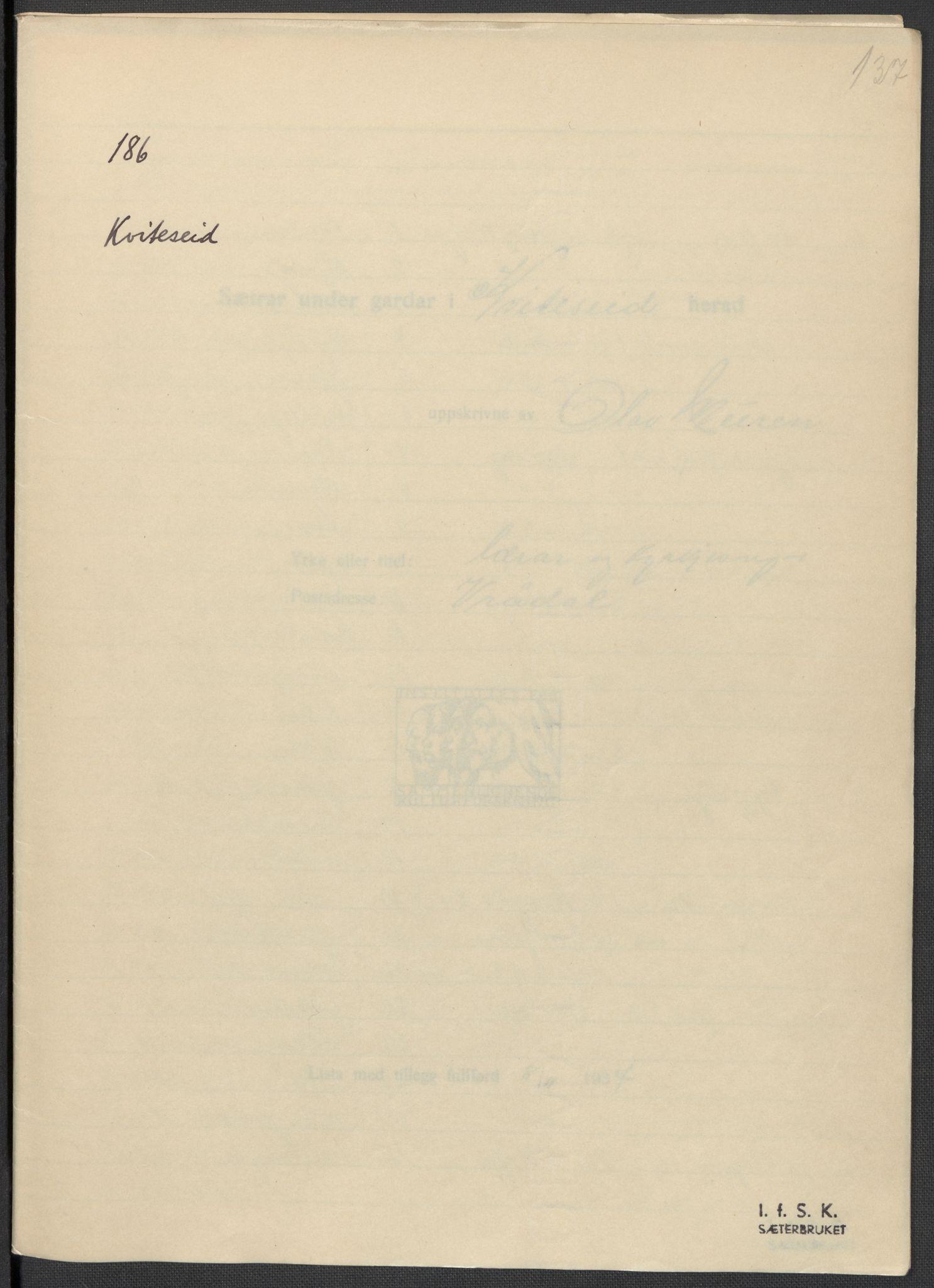 RA, Instituttet for sammenlignende kulturforskning, F/Fc/L0007: Eske B7:, 1934-1937, s. 137