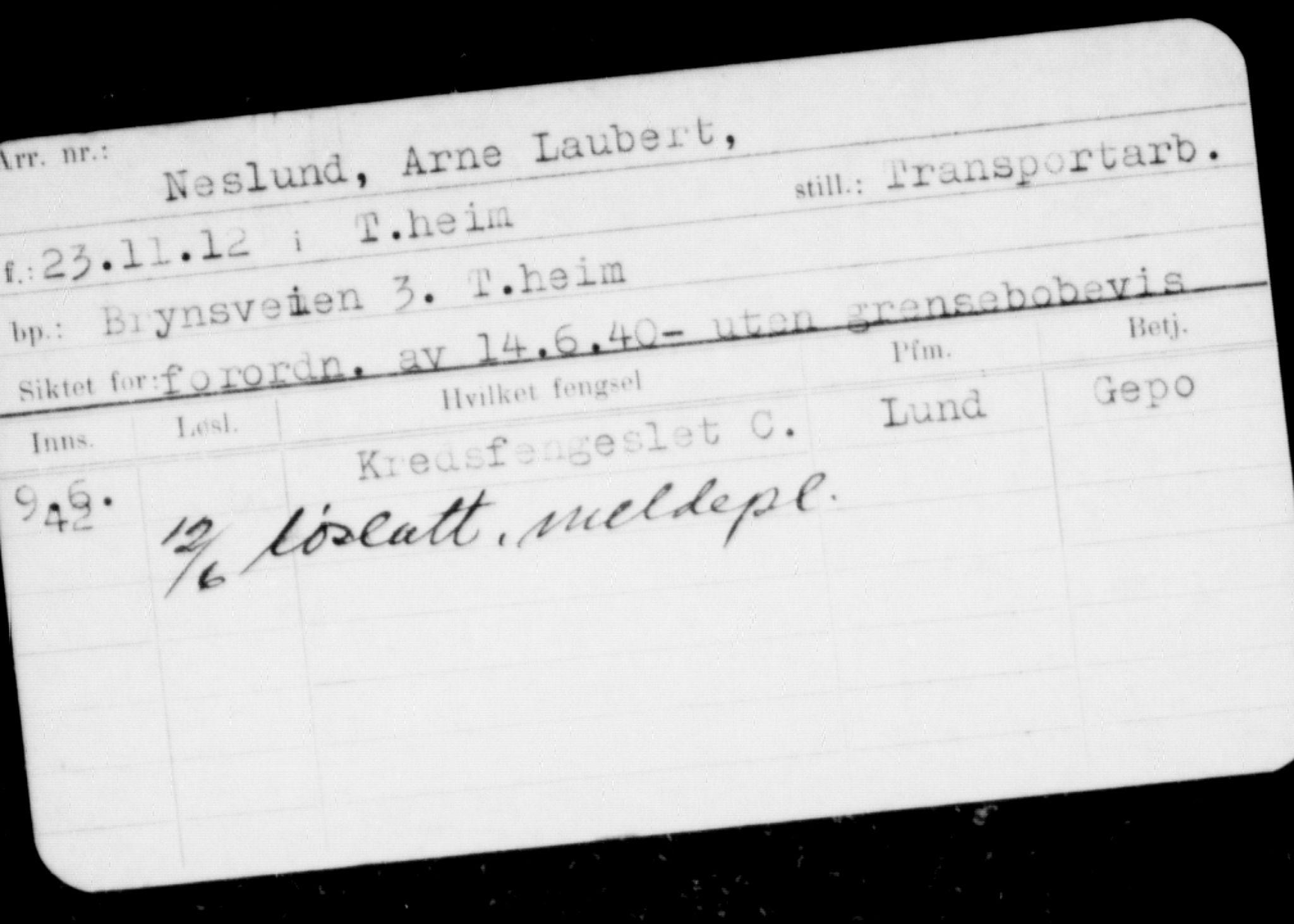 RA, Befehlshaber der Sicherheitspolizei und des SD, F/Fc/L0009: Fangeregister Falstad: Neslund og Nest - P, 1941-1945