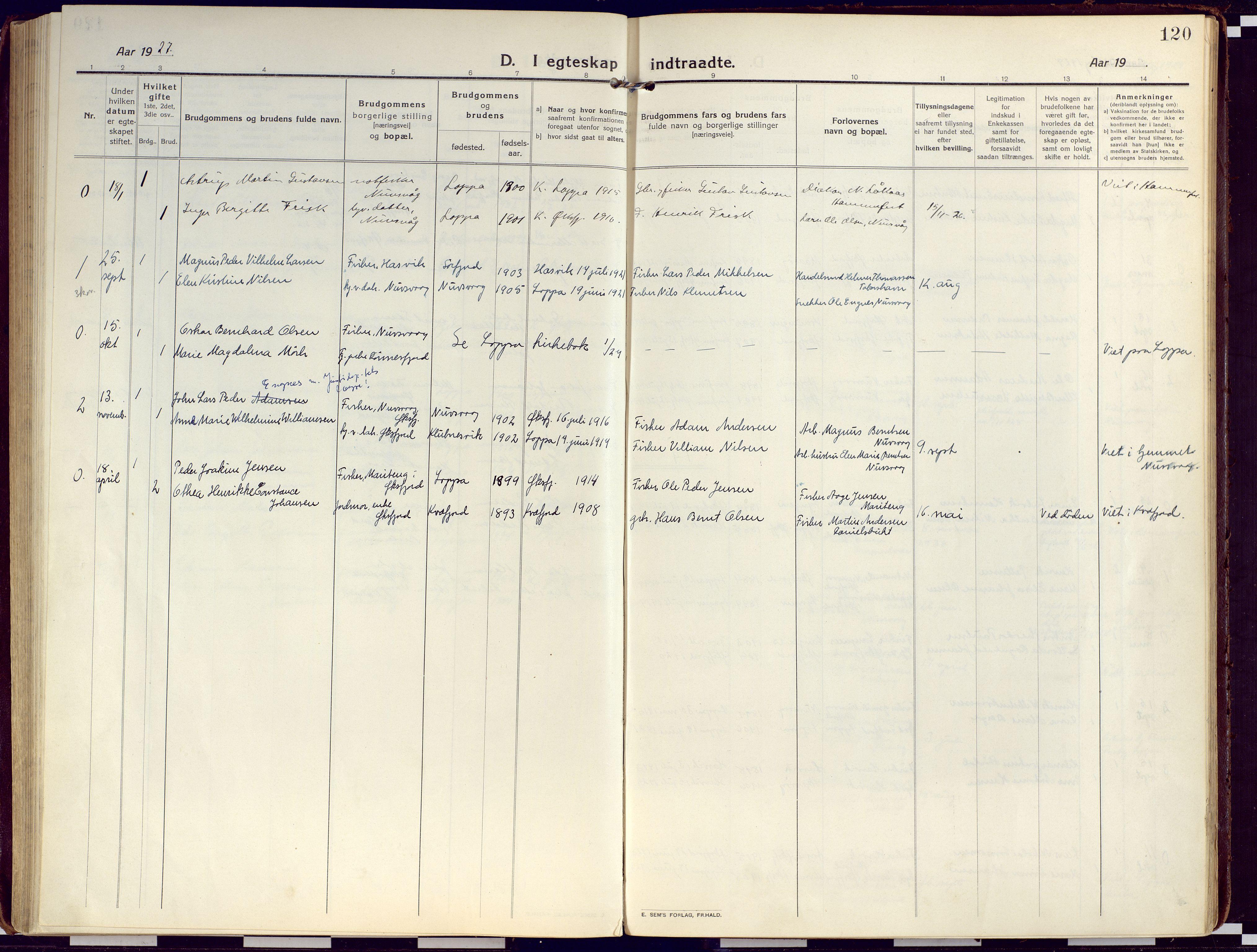SATØ, Loppa sokneprestkontor, H/Ha/L0012kirke: Ministerialbok nr. 12, 1917-1932, s. 120