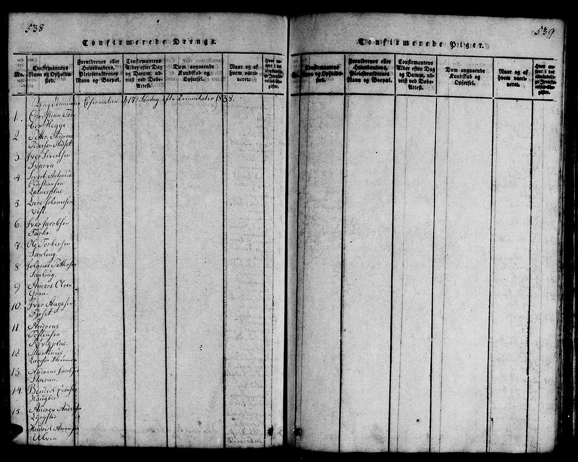 SAT, Ministerialprotokoller, klokkerbøker og fødselsregistre - Nord-Trøndelag, 730/L0298: Klokkerbok nr. 730C01, 1816-1849, s. 538-539