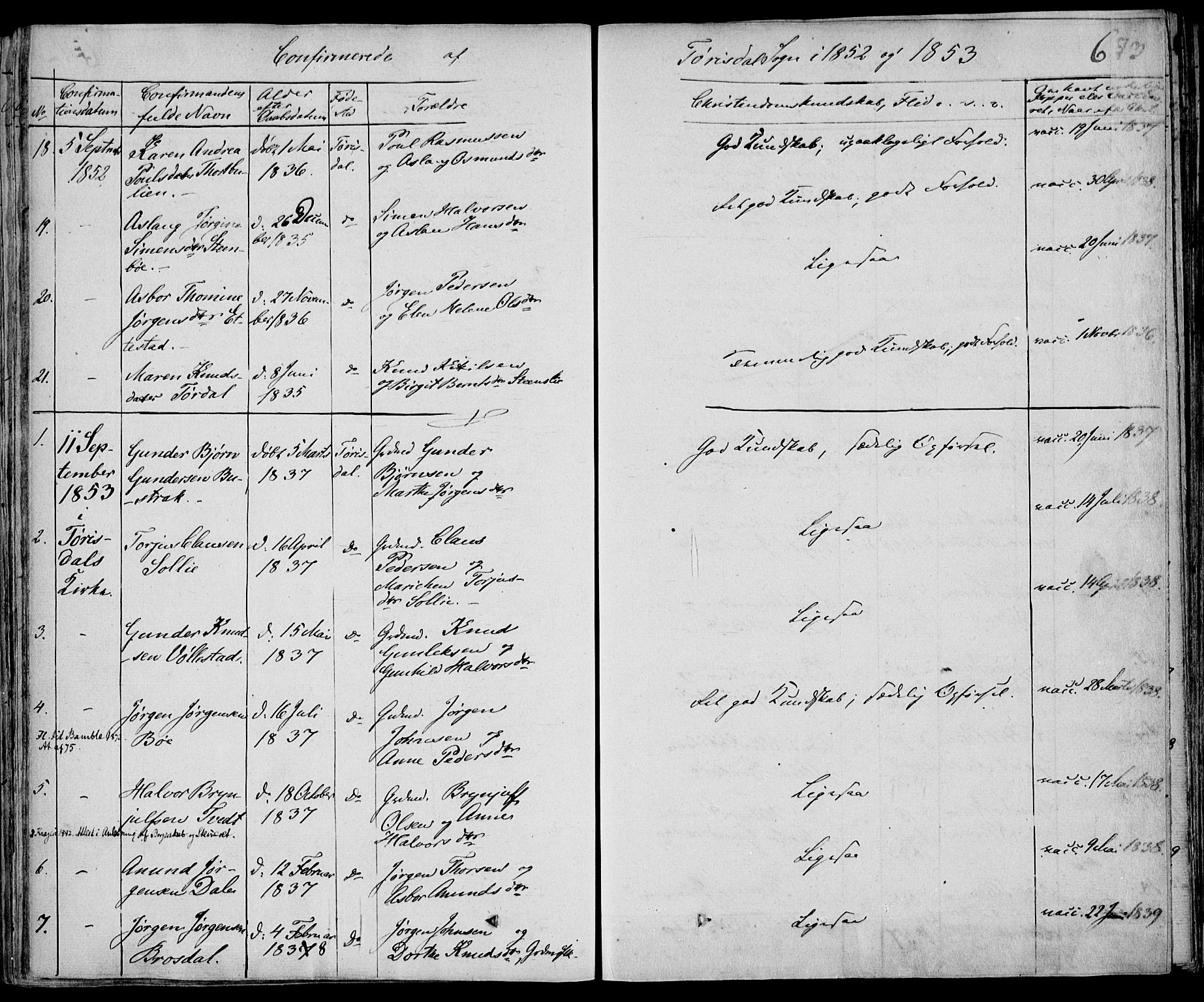 SAKO, Drangedal kirkebøker, F/Fa/L0007b: Ministerialbok nr. 7b, 1837-1856, s. 673