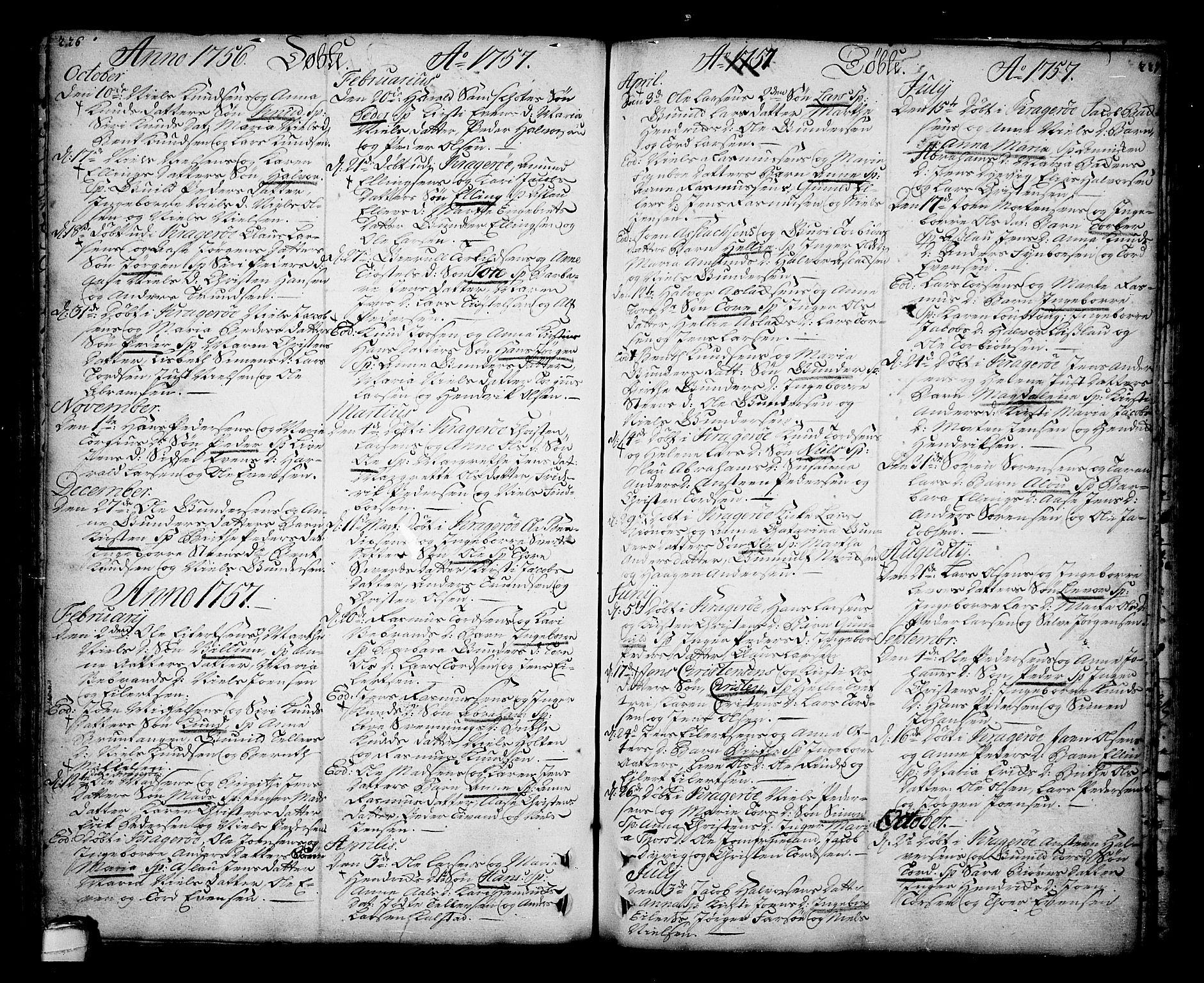 SAKO, Sannidal kirkebøker, F/Fa/L0001: Ministerialbok nr. 1, 1702-1766, s. 226-227