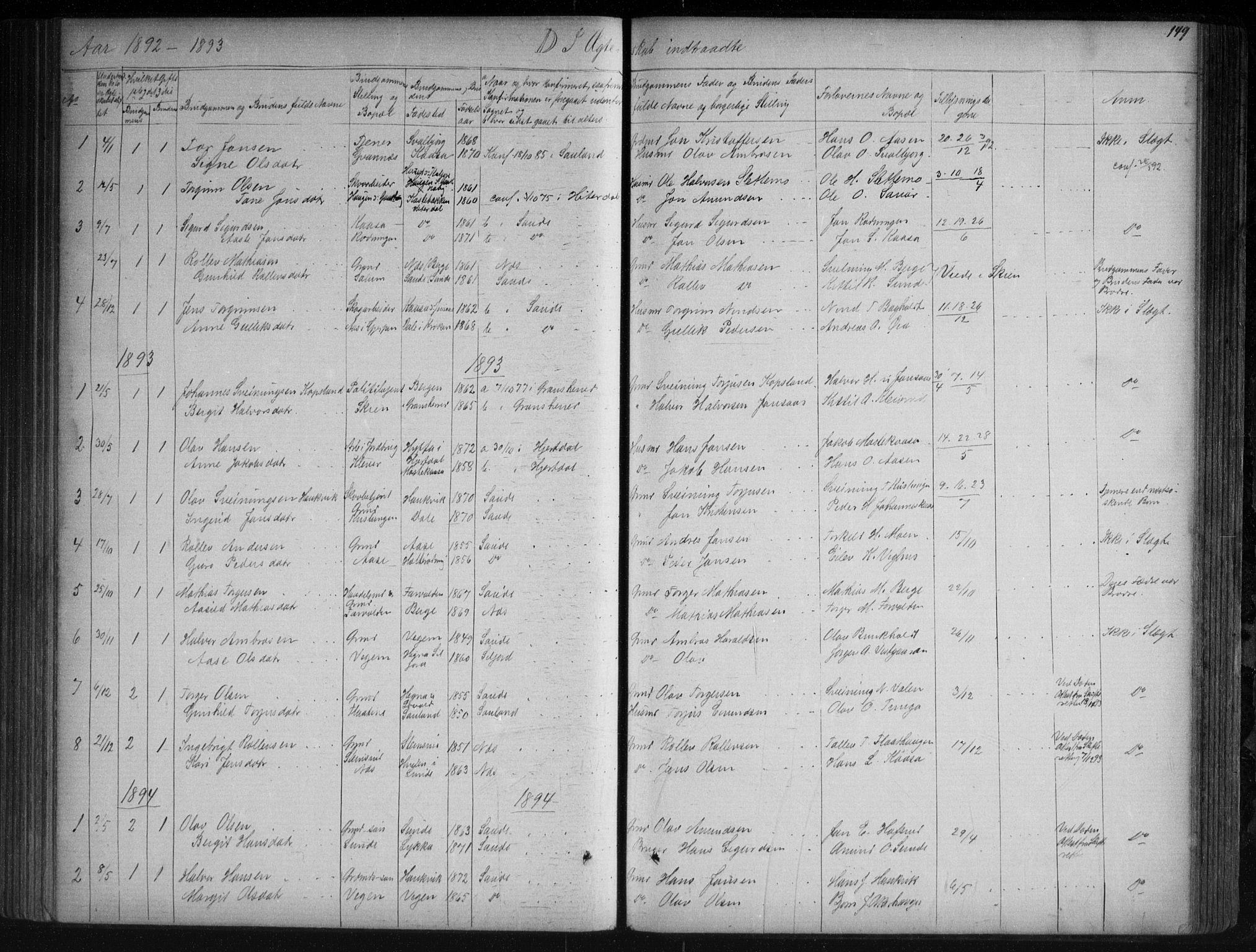 SAKO, Sauherad kirkebøker, G/Ga/L0003: Klokkerbok nr. I 3, 1866-1905, s. 149